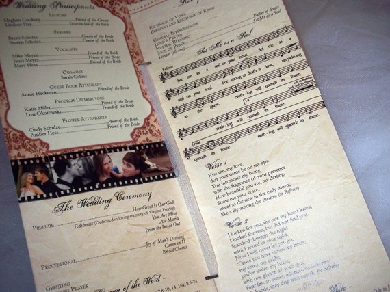 vintage photo wedding programs