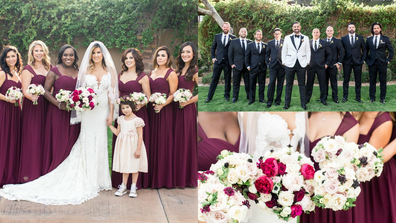 bridesmaids, groomsmen, wedding day, bouquets, wedding bouquets, floral, wedding floral, red rock country club wedding, las vegas wedding planner, green orchid events