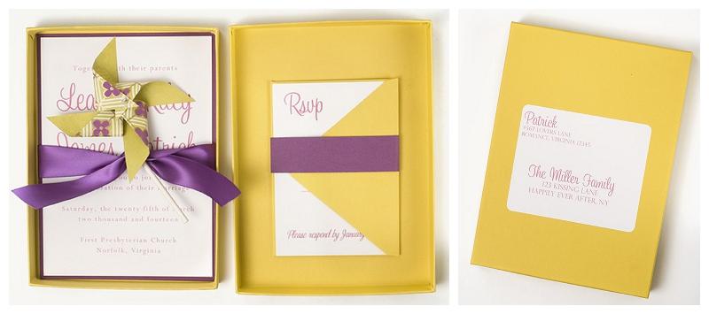 yellow and purple pinwheel invitation