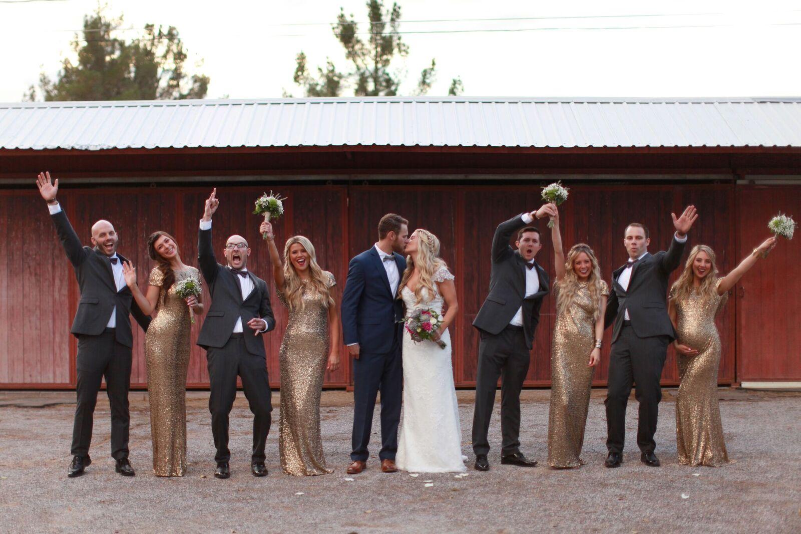 bride, groom, bridesmaids, and groomsmen photos on the wedding day.