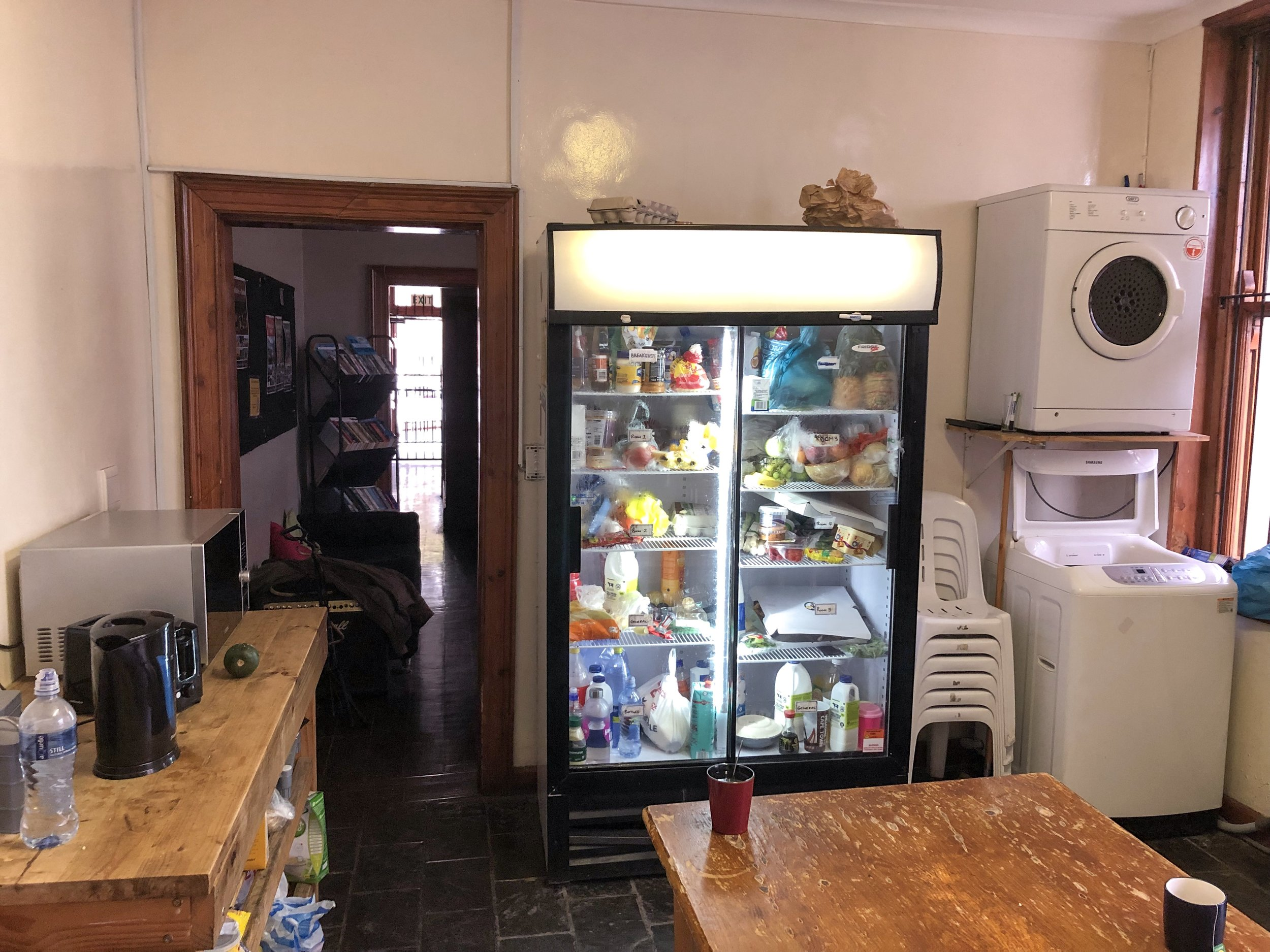 Communal fridge. Each room had a shelf, and contents in the top left shelf were free to take and use.