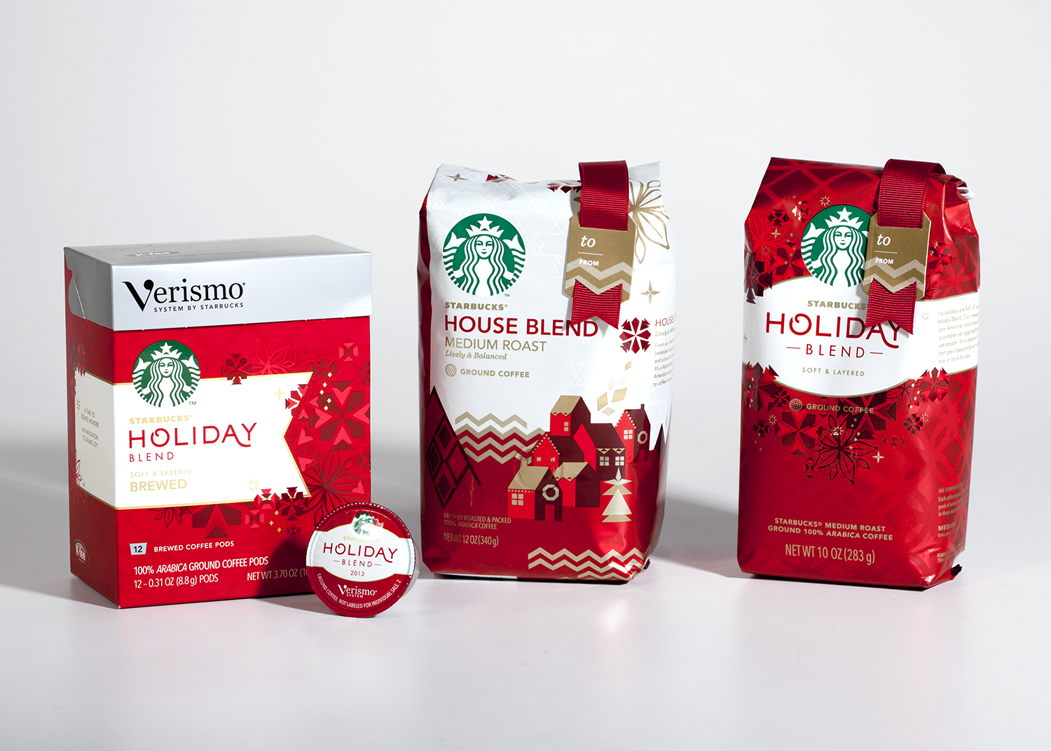 Verismo Holiday Blend cartons and pods.  Custom gift tags with grosgrain ribbon for Target-exclusive coffee bags.