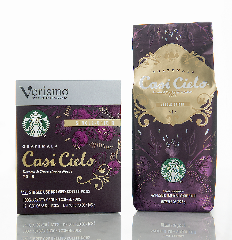 Starbucks Verismo Guatemala Casi Cielo with coordinating rollstock bag