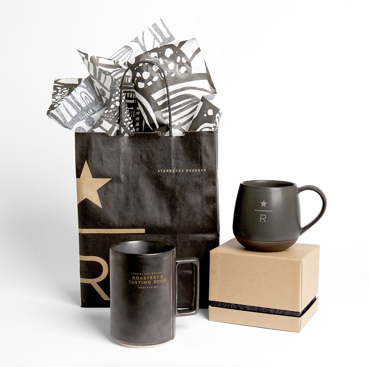 LEFT  In-store exclusive  Starbucks Reserve Roastery & Tasting Room  mug design.  RIGHT For-here-ware mug design.