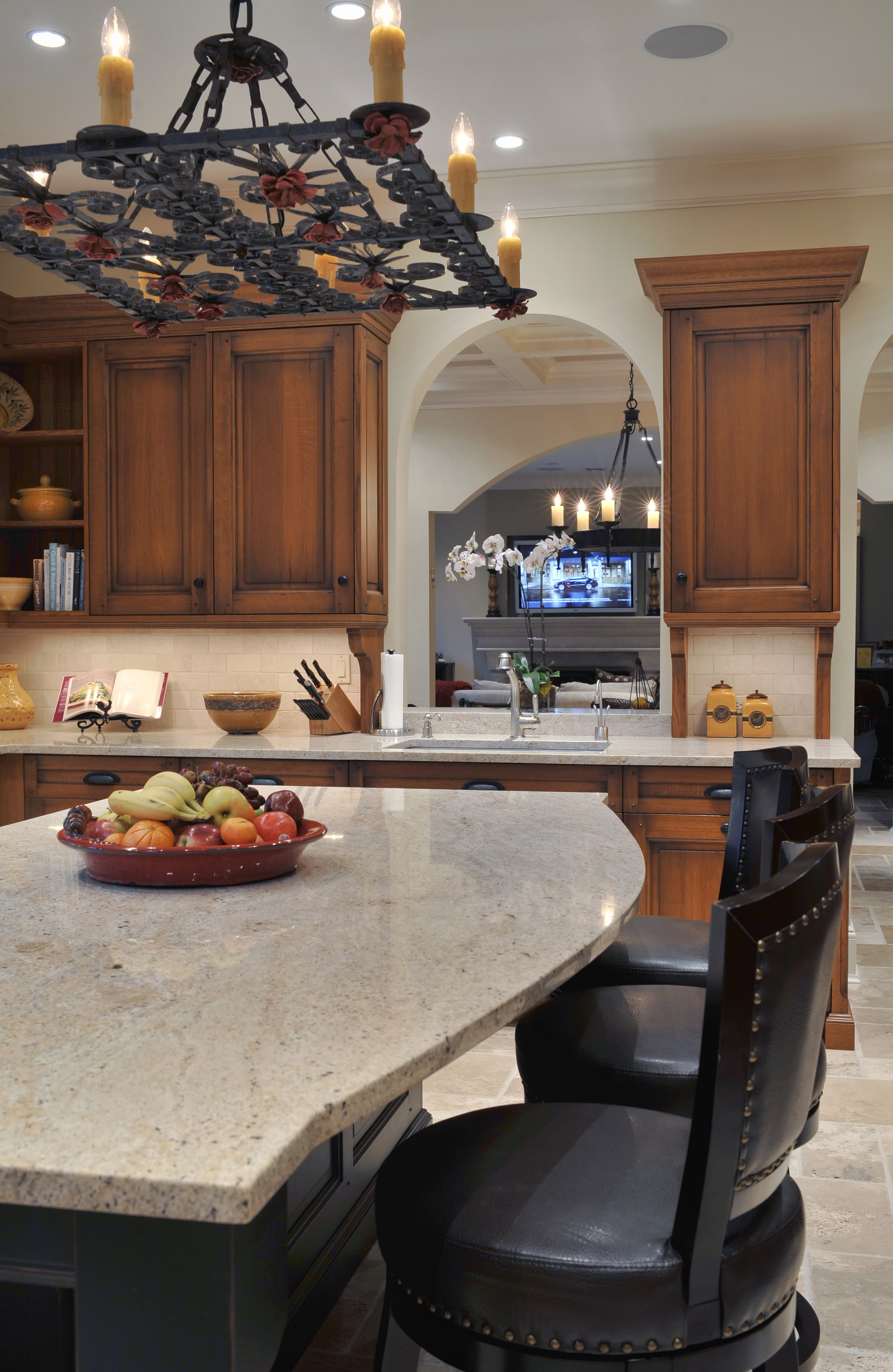 Traditional style kitchen with built in cabinets