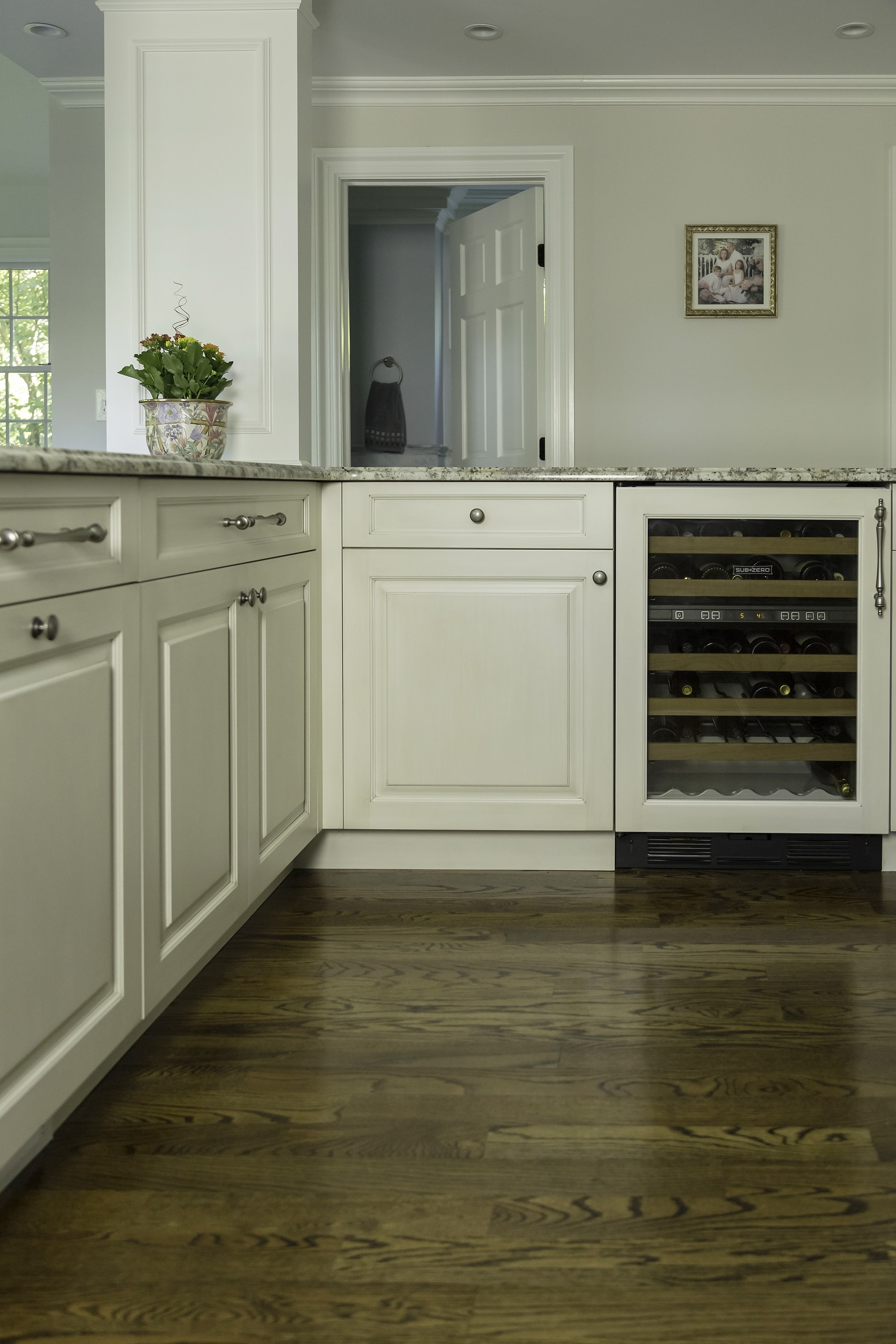 Traditional style kitchen with wine storage