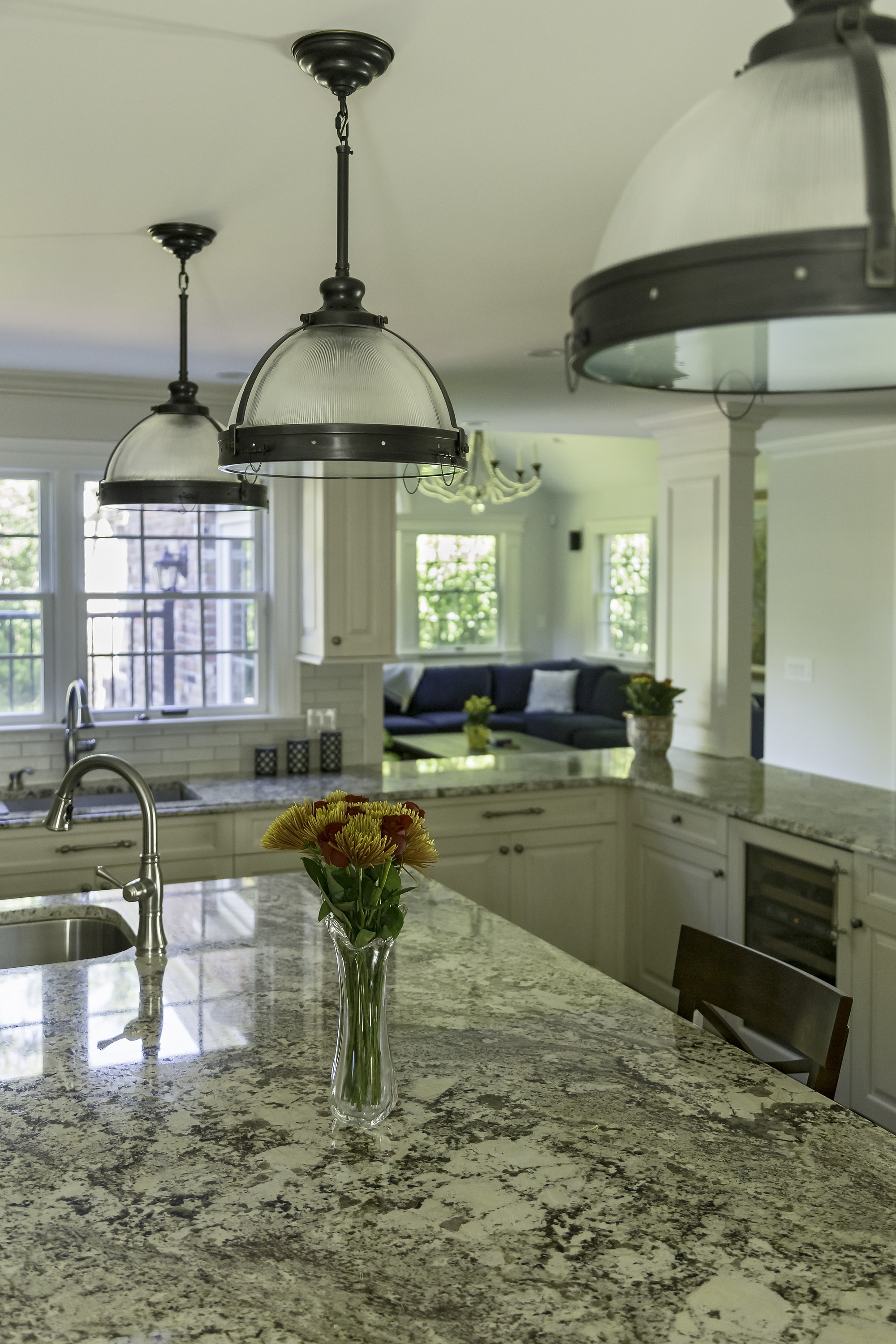 Traditional style kitchen with marble countertops