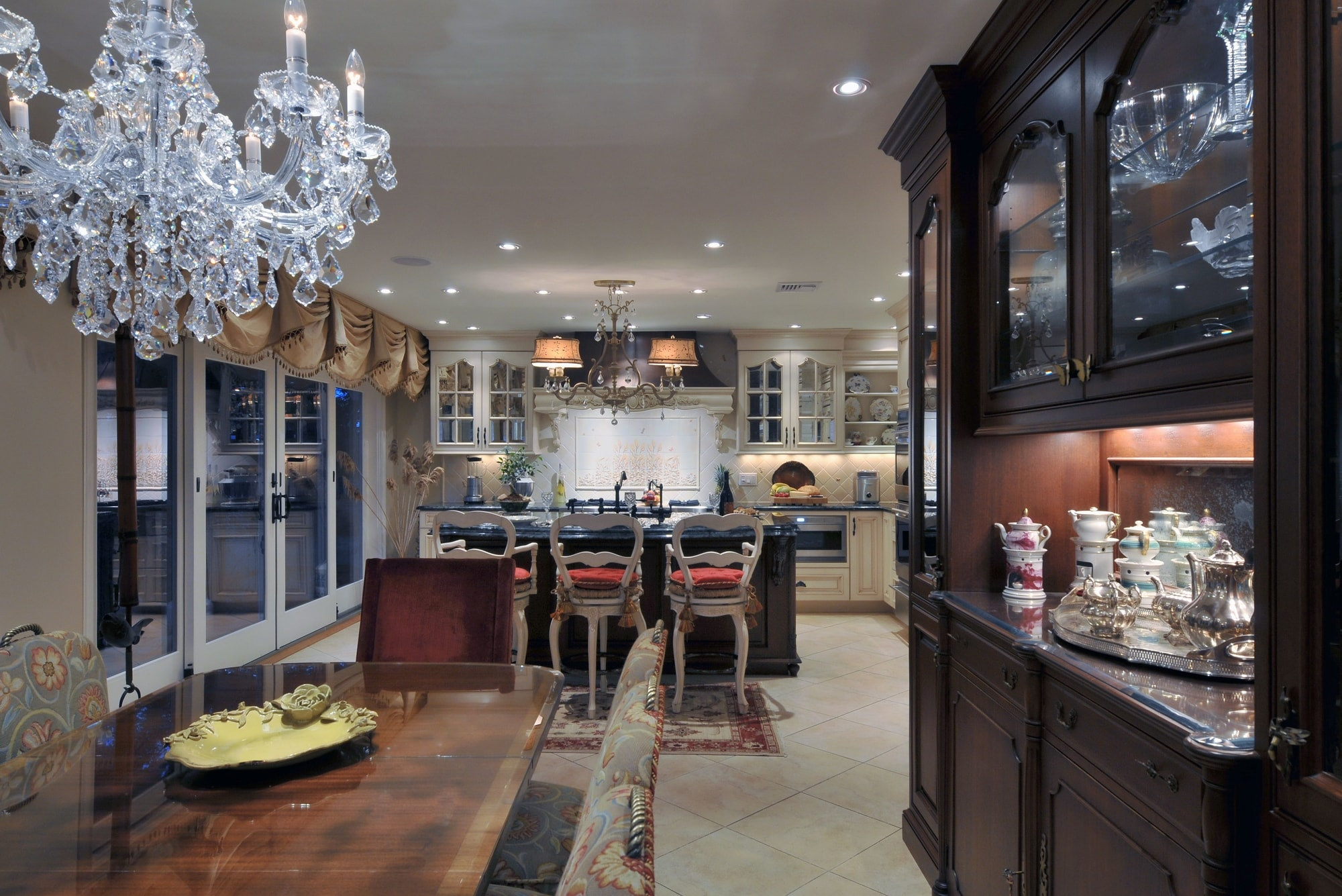 Traditional style kitchen with beautiful crystal chandelier