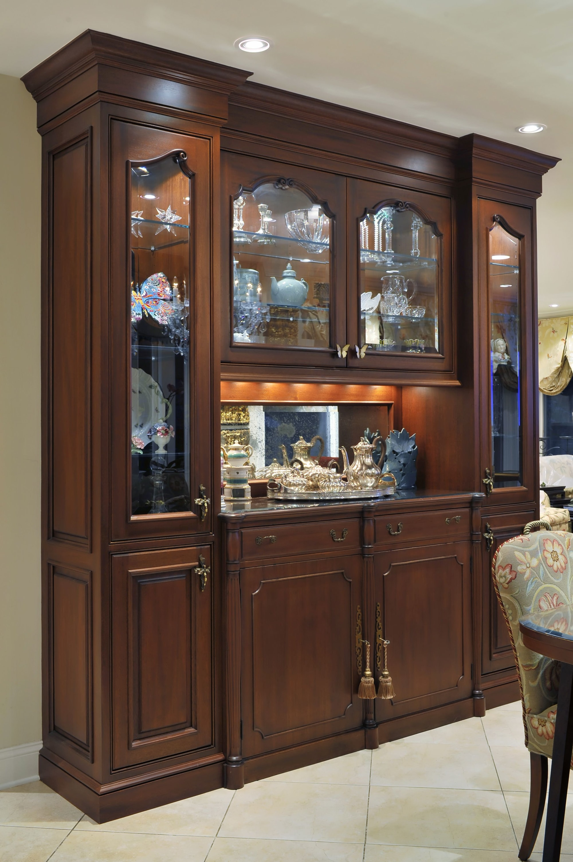 Traditional style kitchen with wooden glass cabinets