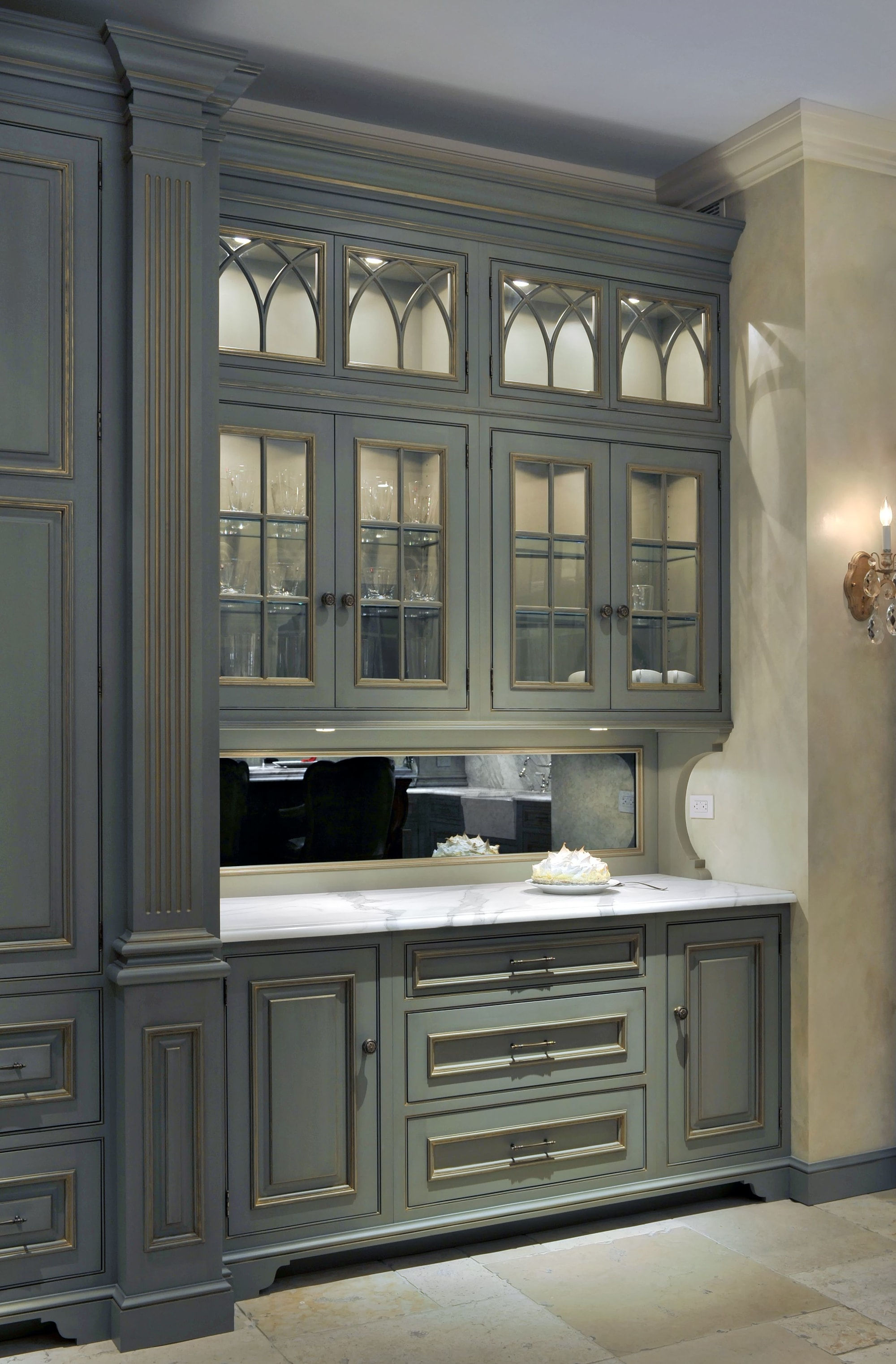 Traditional style kitchen with classic gray kitchen cabinet