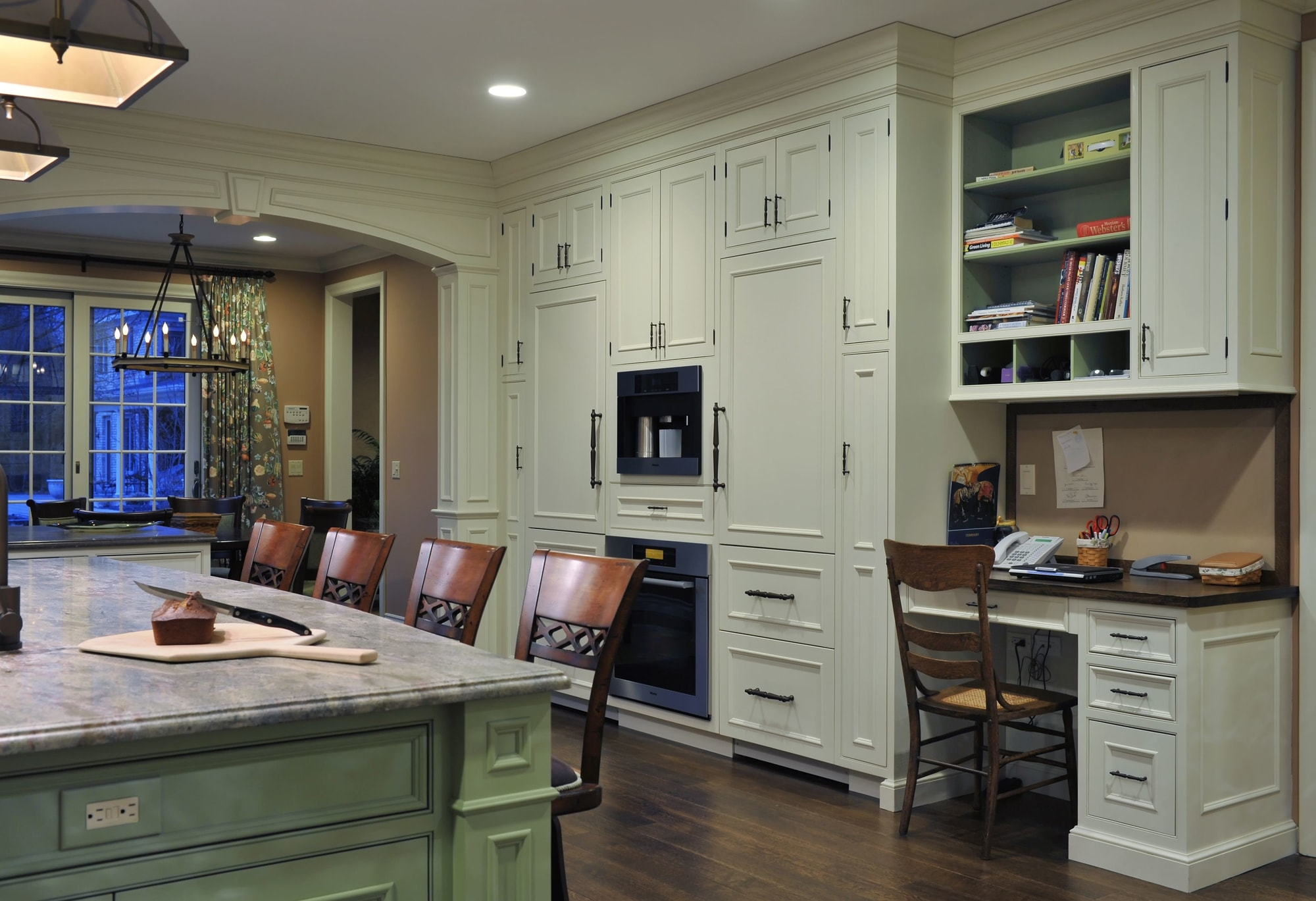 Traditional style kitchen with small workstation in the corner