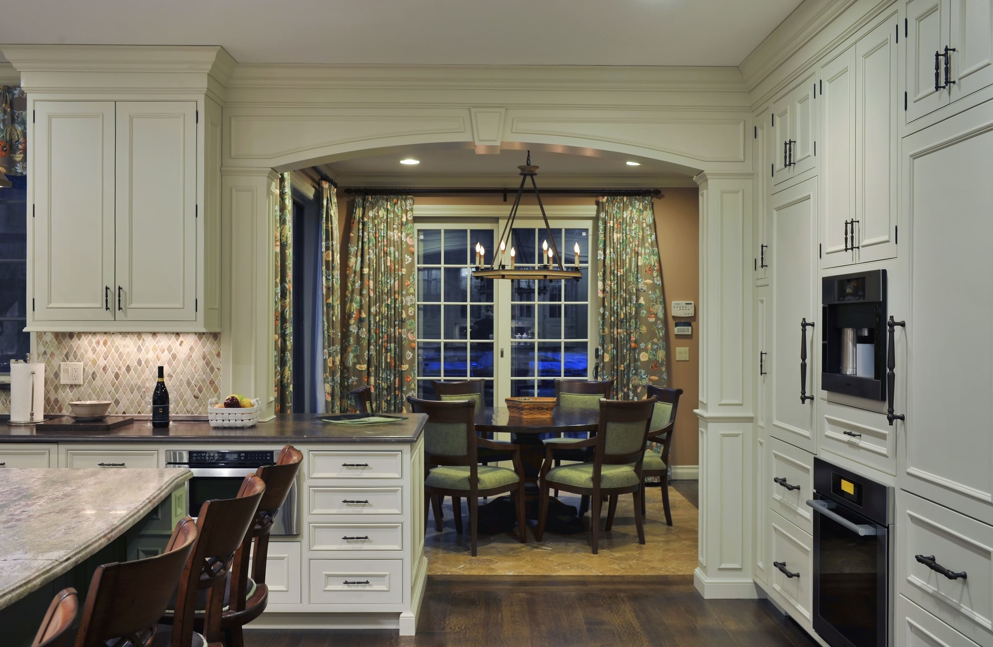 Traditional style kitchen with small eating area