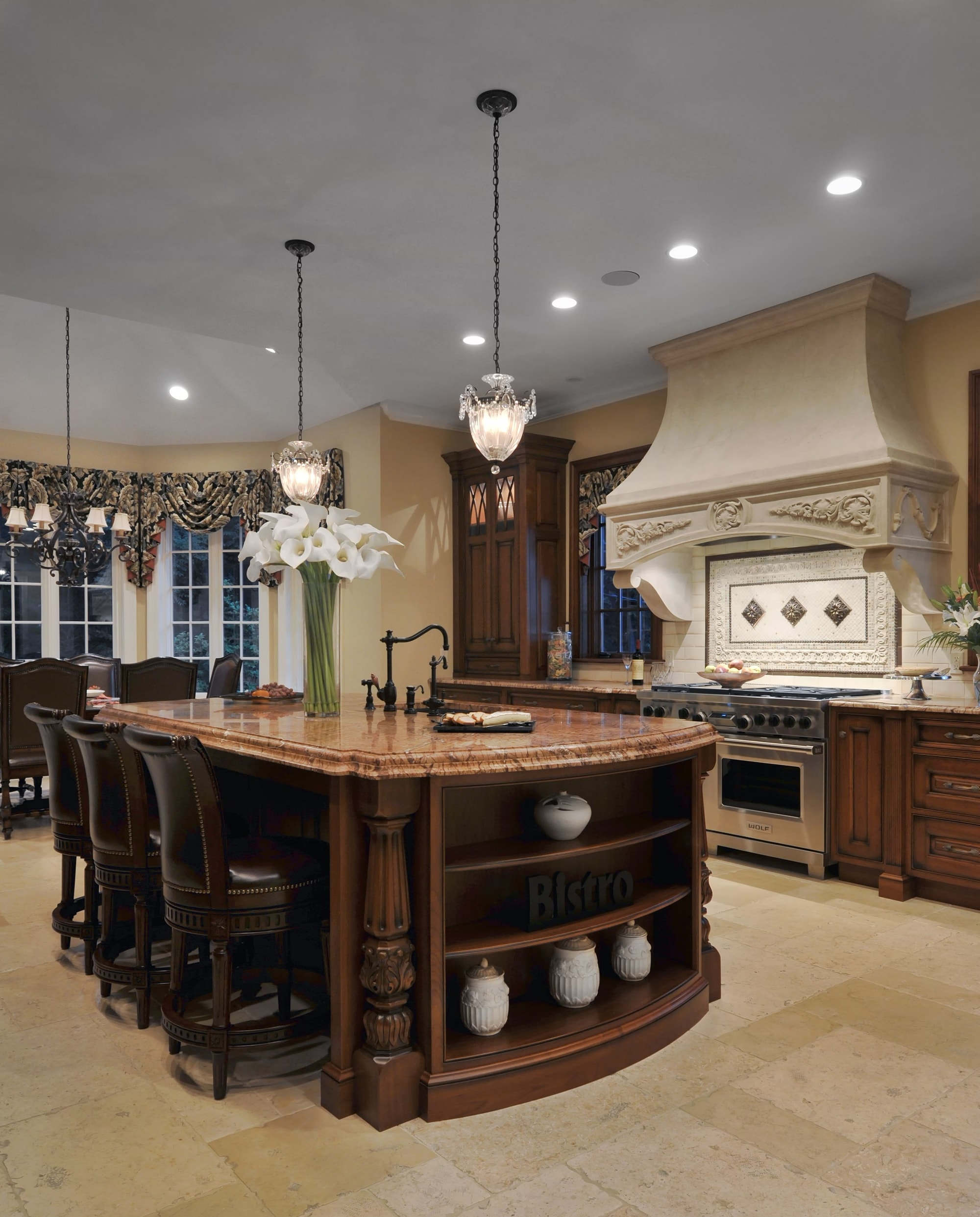 Traditional style kitchen with customer counter and wooden chair