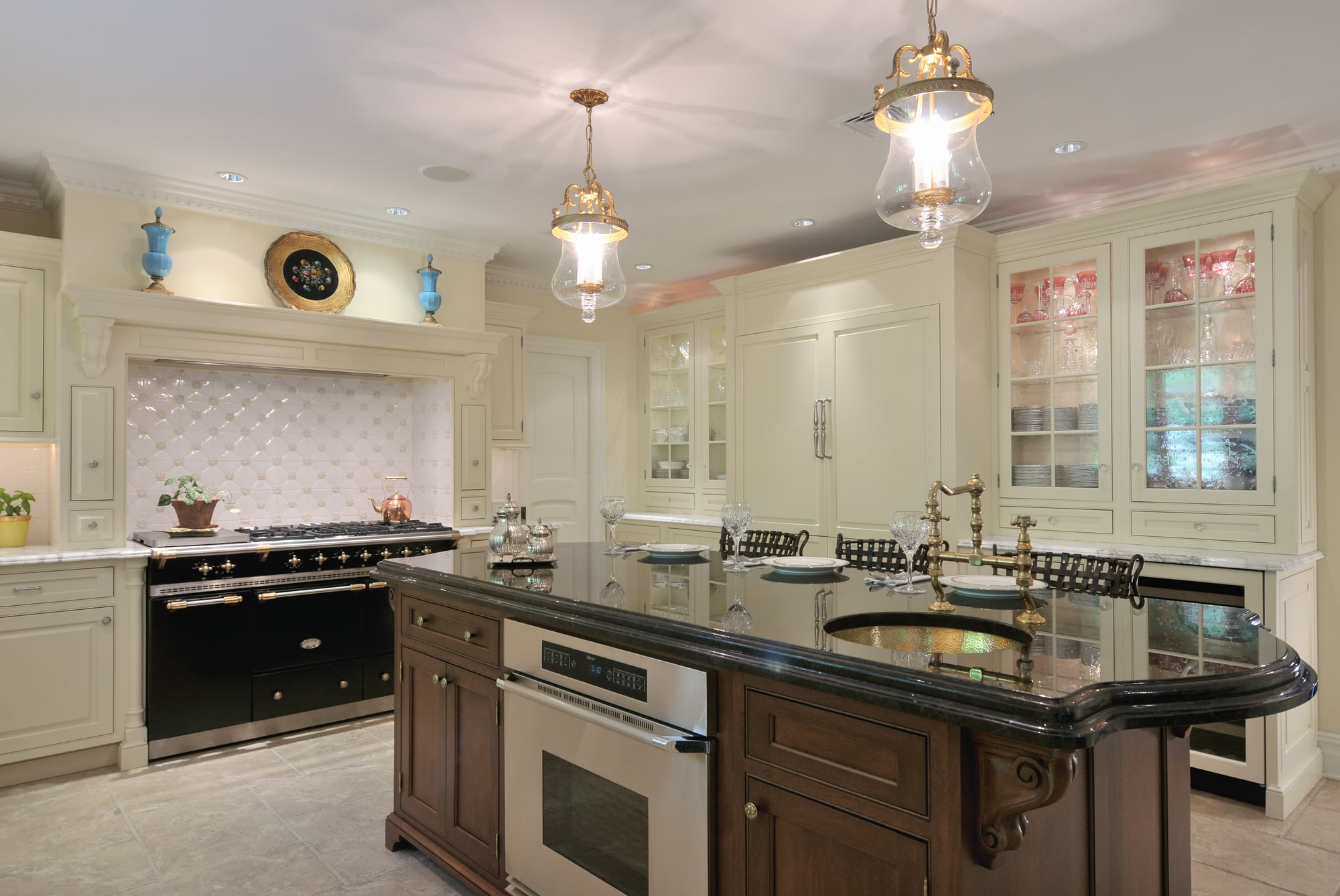 Traditional style kitchen with black range oven