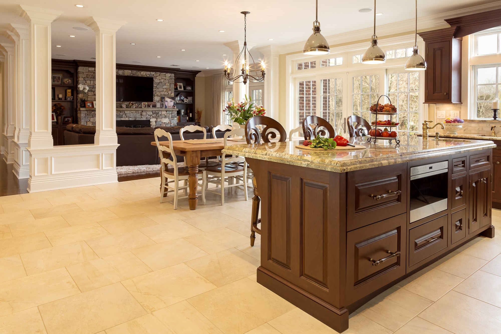 Traditional style kitchen open living room space