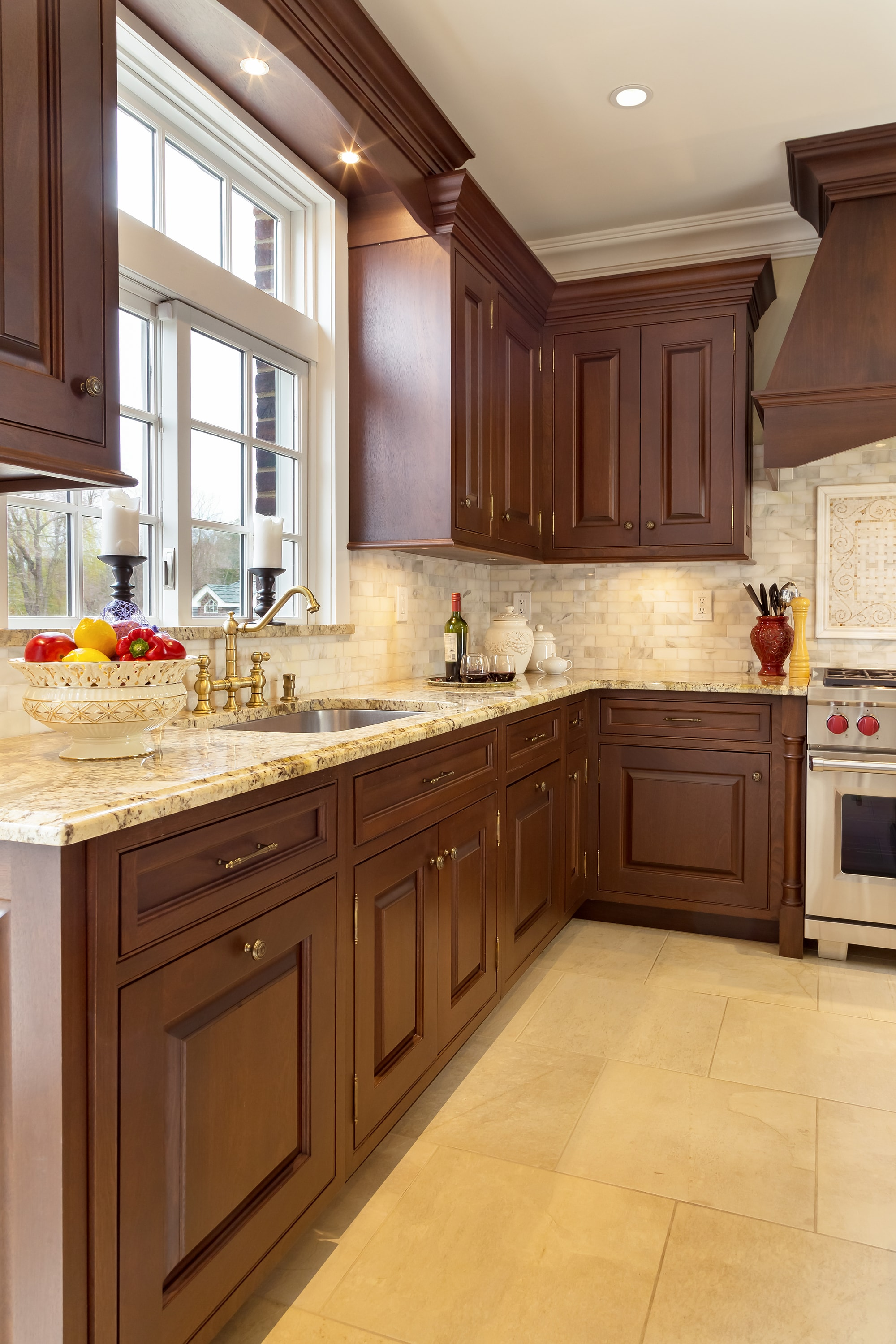 Traditional style kitchen with upper cabinet and wide french window