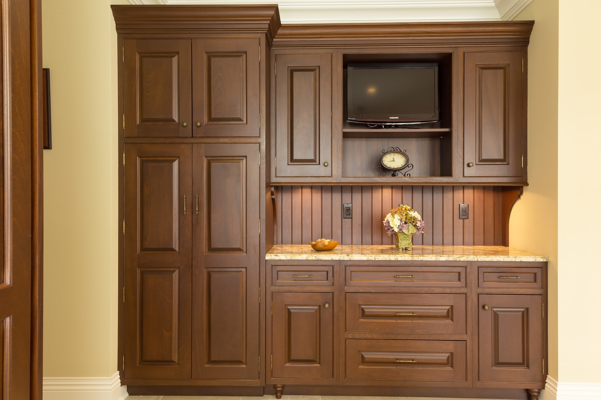 Traditional style kitchen with large wooden work table