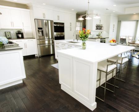 Modern kitchen with white cabinets