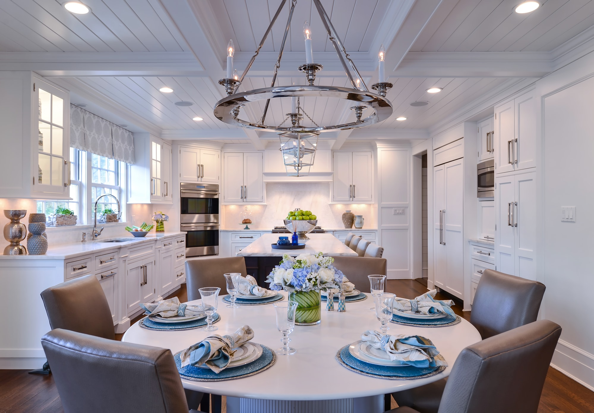 Traditional style kitchen with white shiplap ceilings