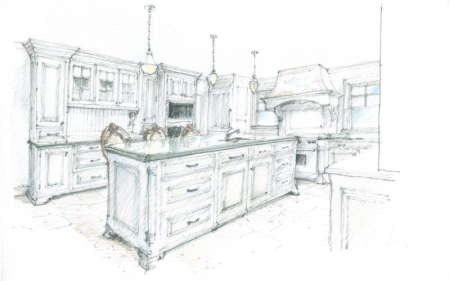 auto cad drawings sketch of traditional kitchen