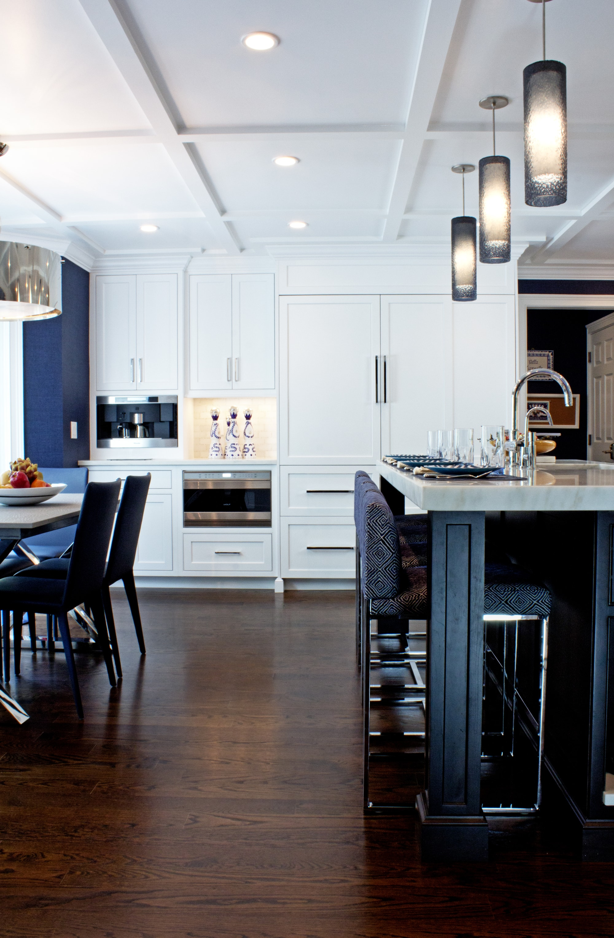 Transitional style kitchen with spacious and wood floor