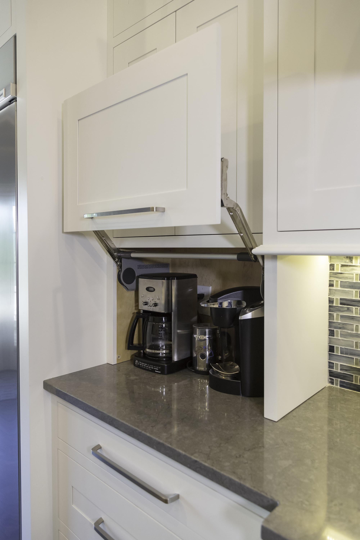 Transitional style kitchen with storage organizer