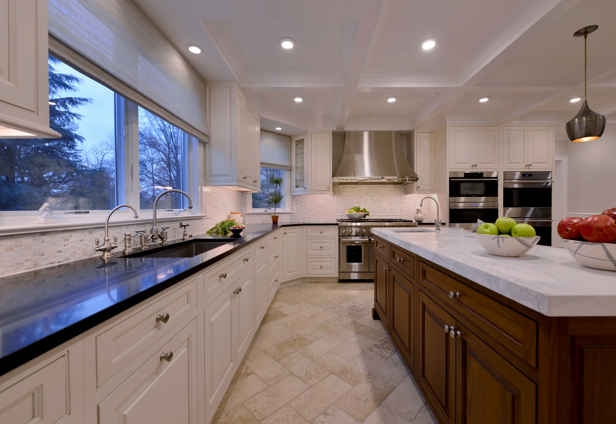 Transitional style kitchen with bright light and high ceiling