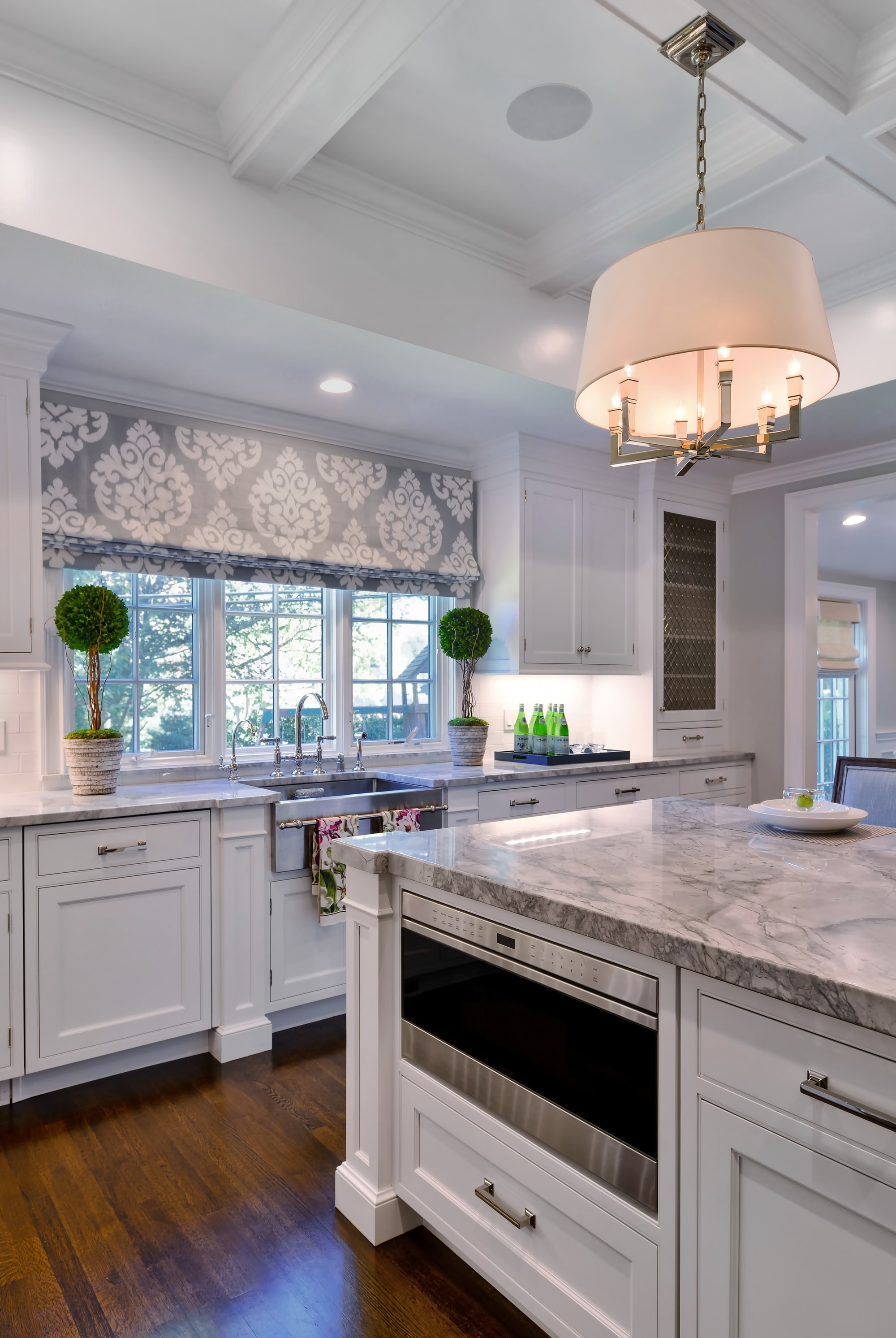 Transitional style kitchen with bay window