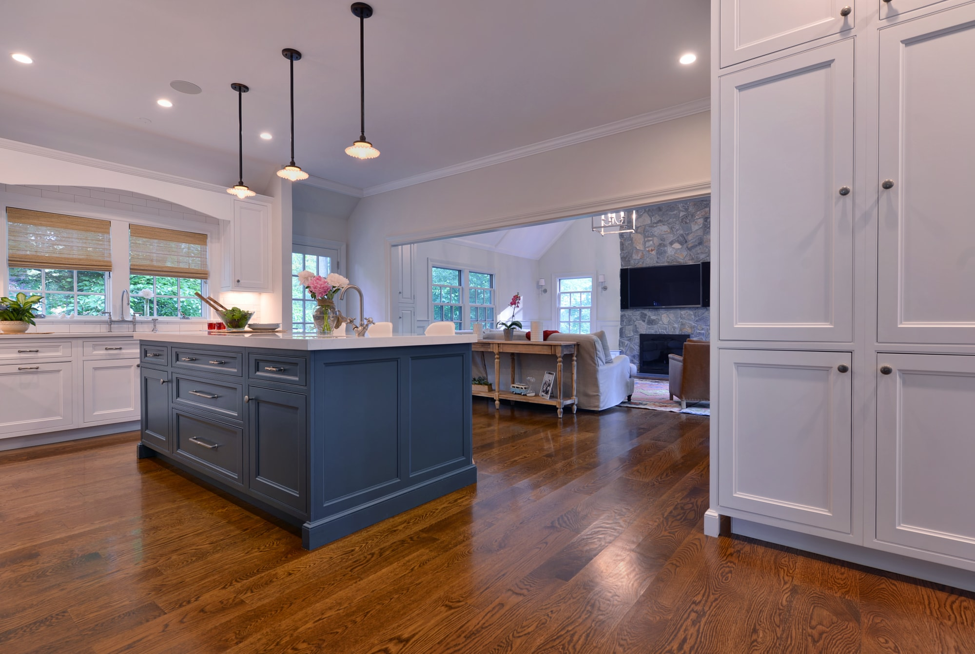 Transitional style kitchen with spacious wooden floor