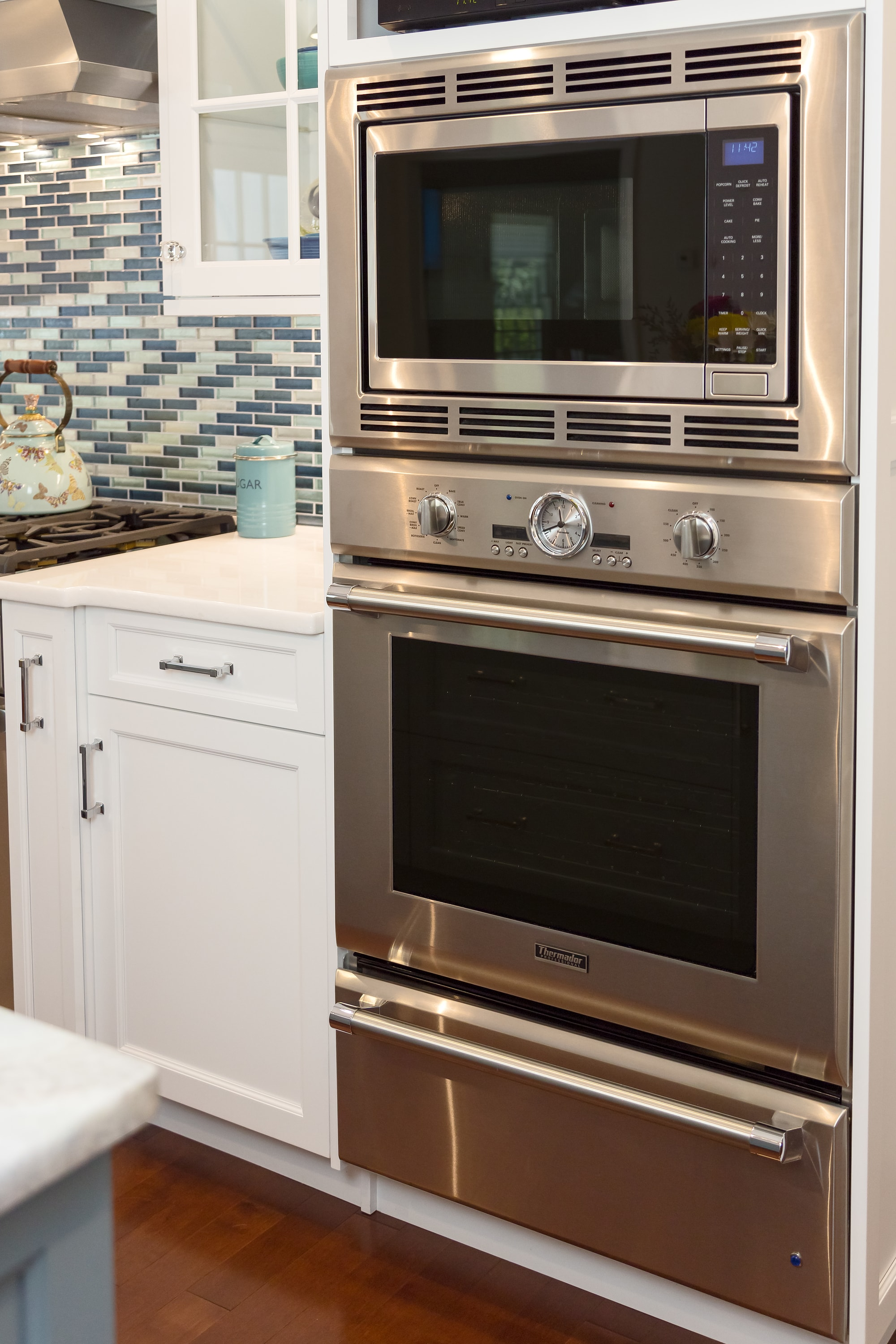 Transitional style kitchen with speed cooking oven