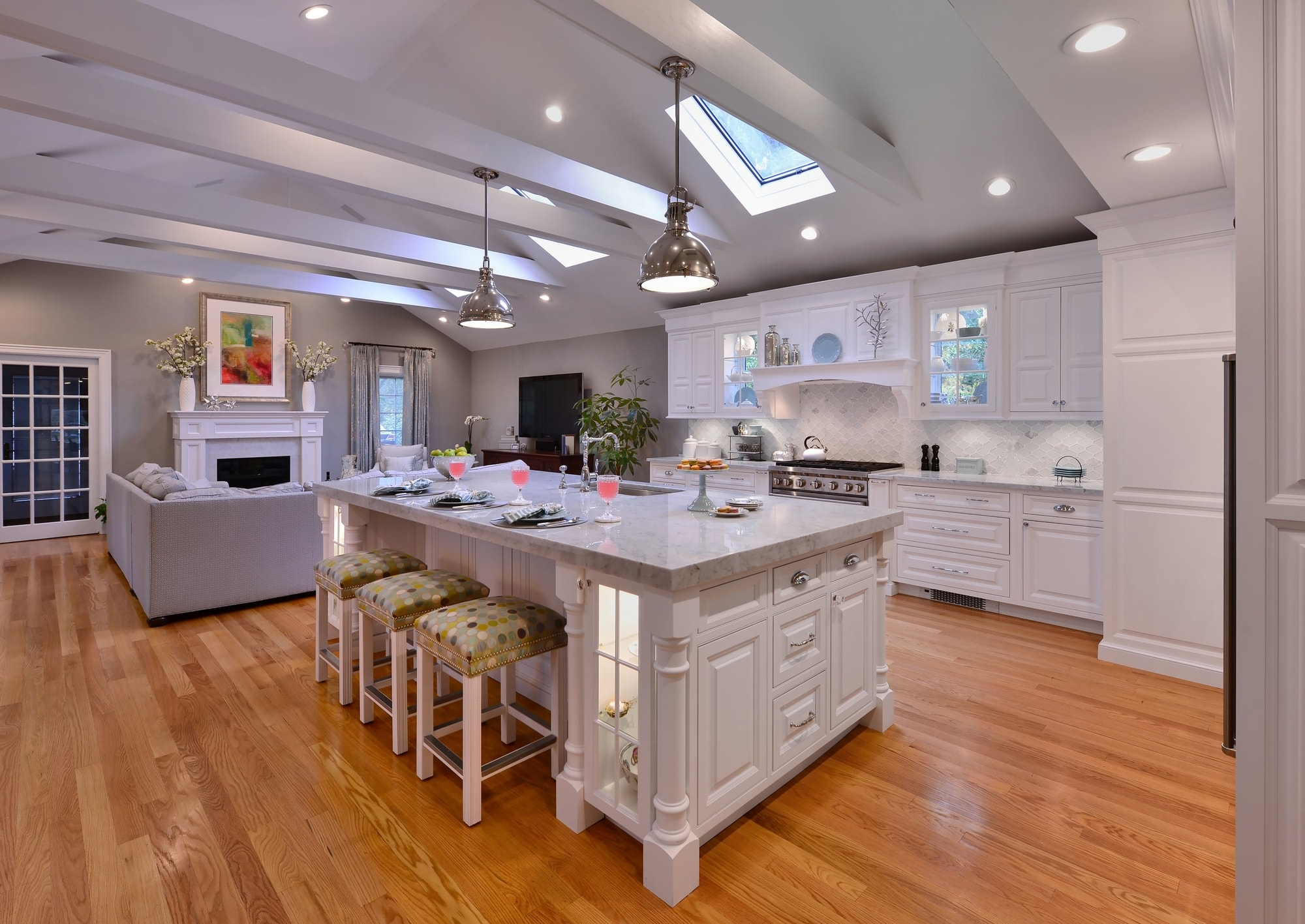 Transitional style kitchen with an open plan design