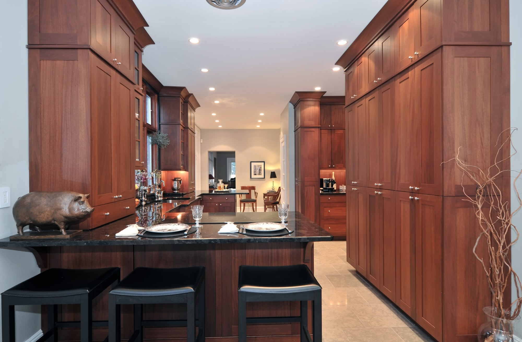 Transitional style kitchen with wooden themed design