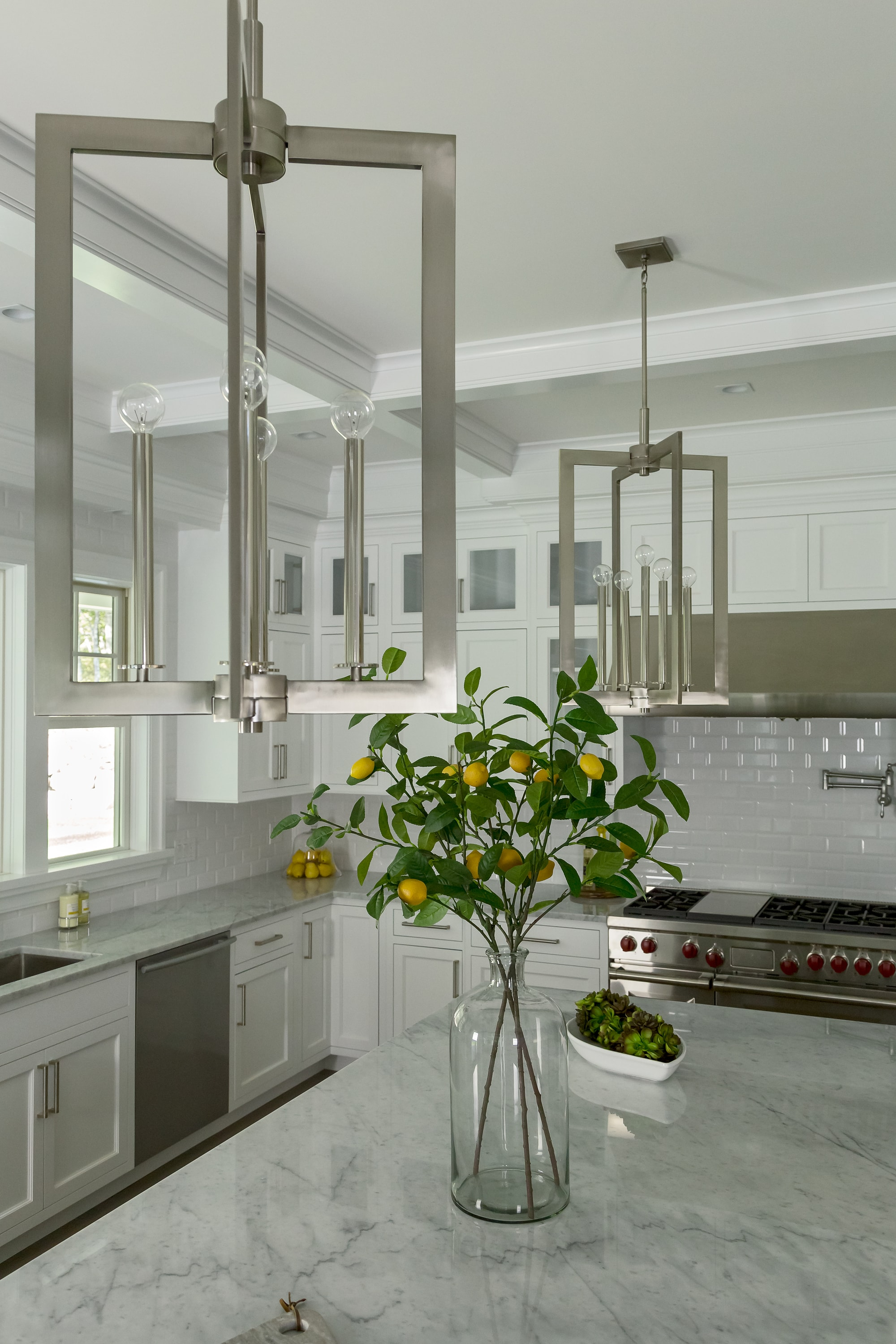 Copy of Transitional style kitchen with two modern light fixtures