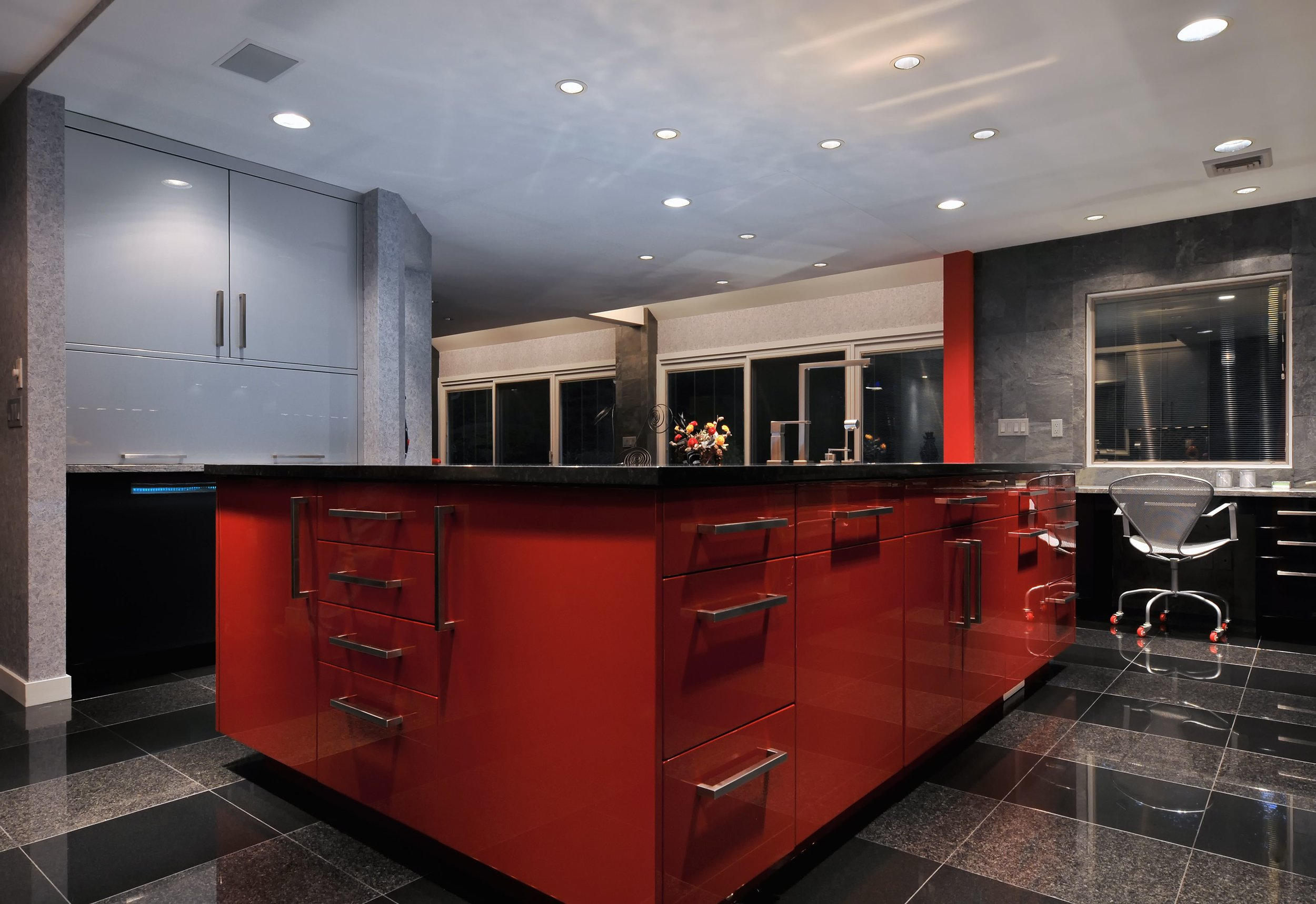 Contemporary style kitchen with a custom built under counter cabinets