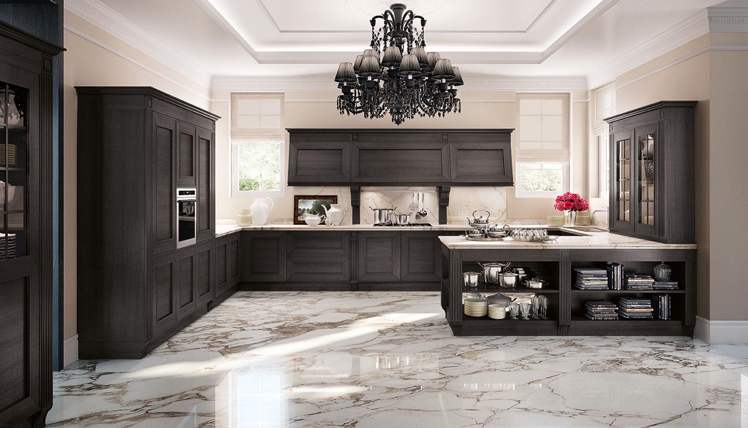 Contemporary style kitchen with spacious marble floor