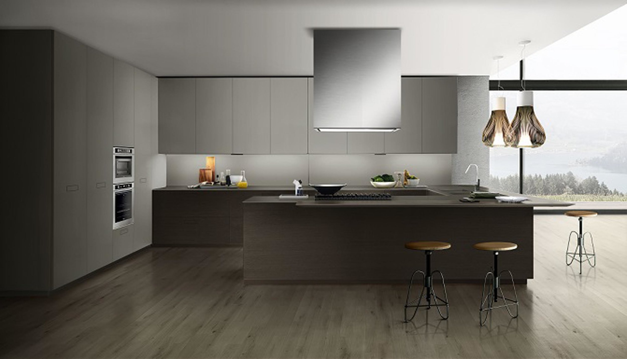 Contemporary style kitchen with counter and two counter stools