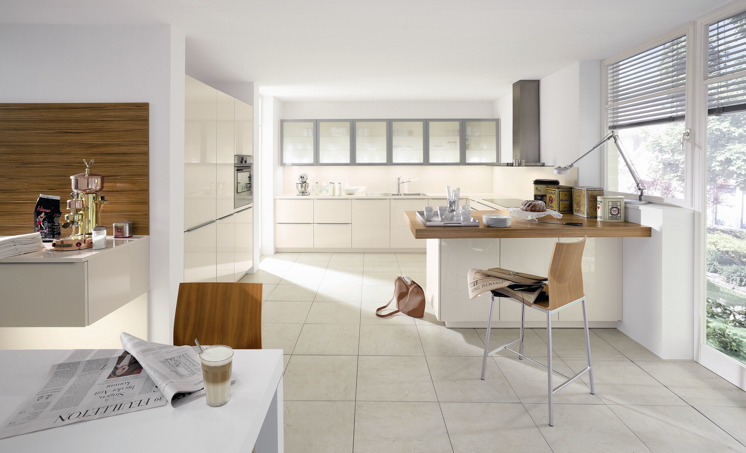 Contemporary style kitchen with white tiled floor