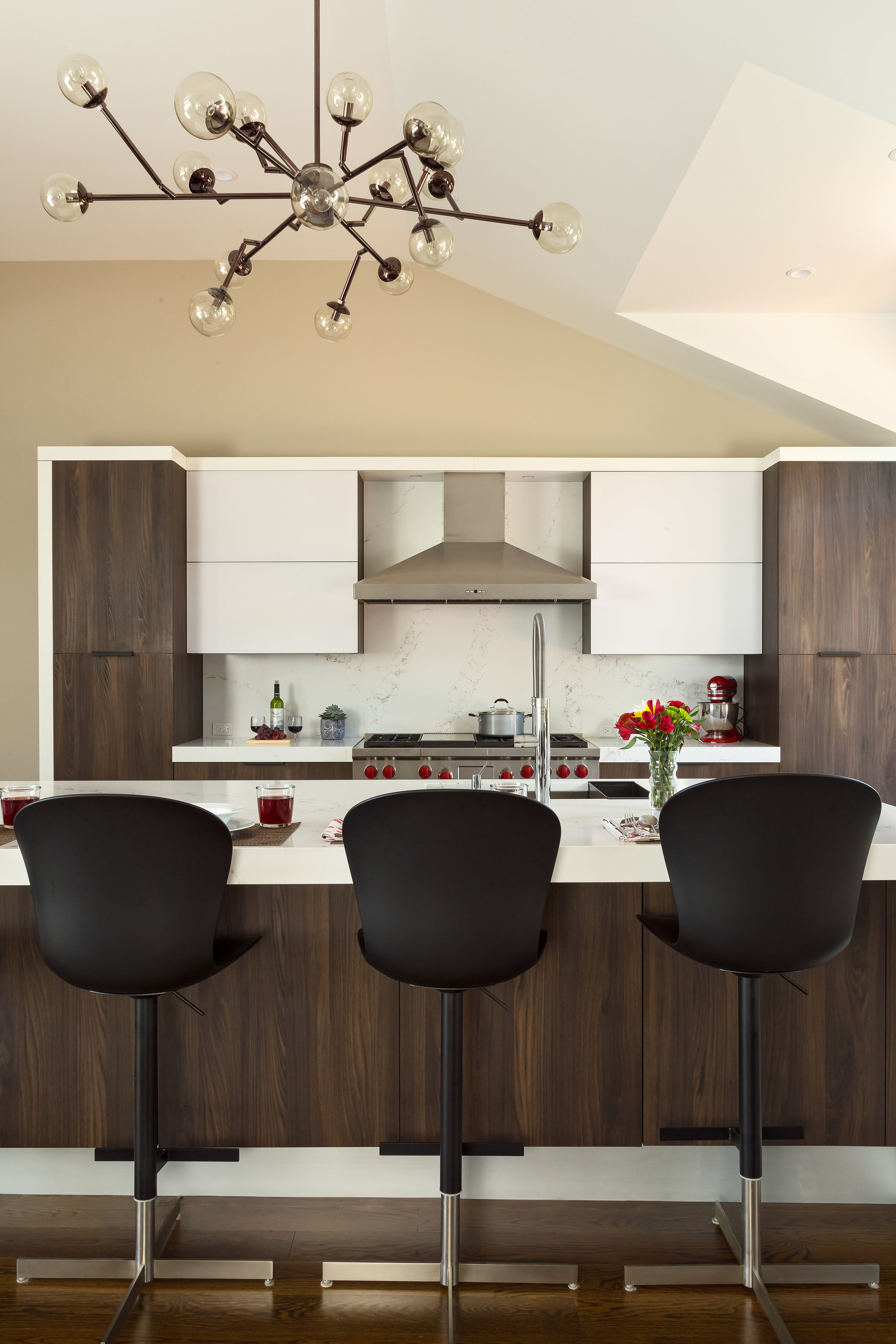 Contemporary style kitchen with counter tools