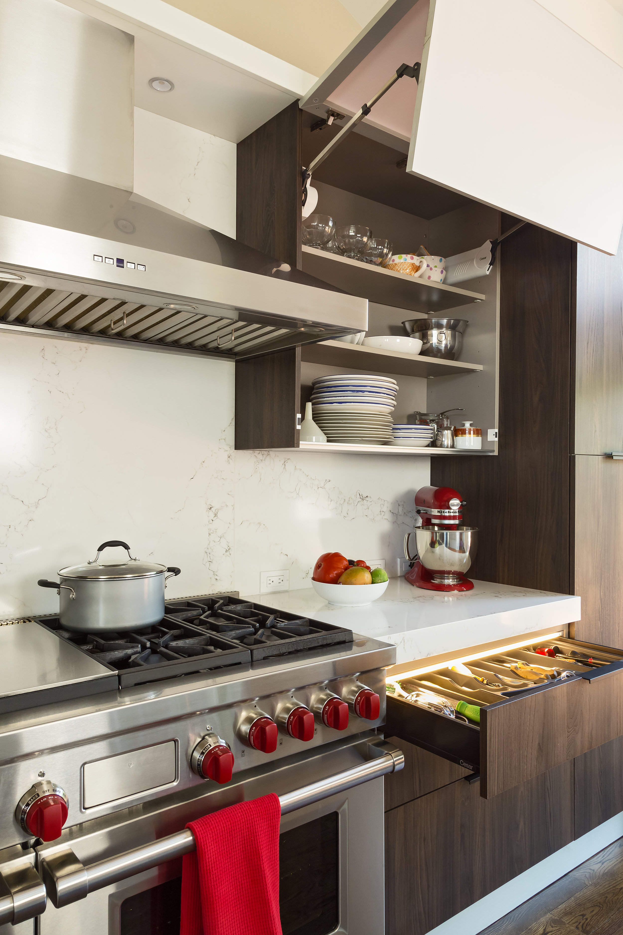 Contemporary style kitchen with pull out drawer