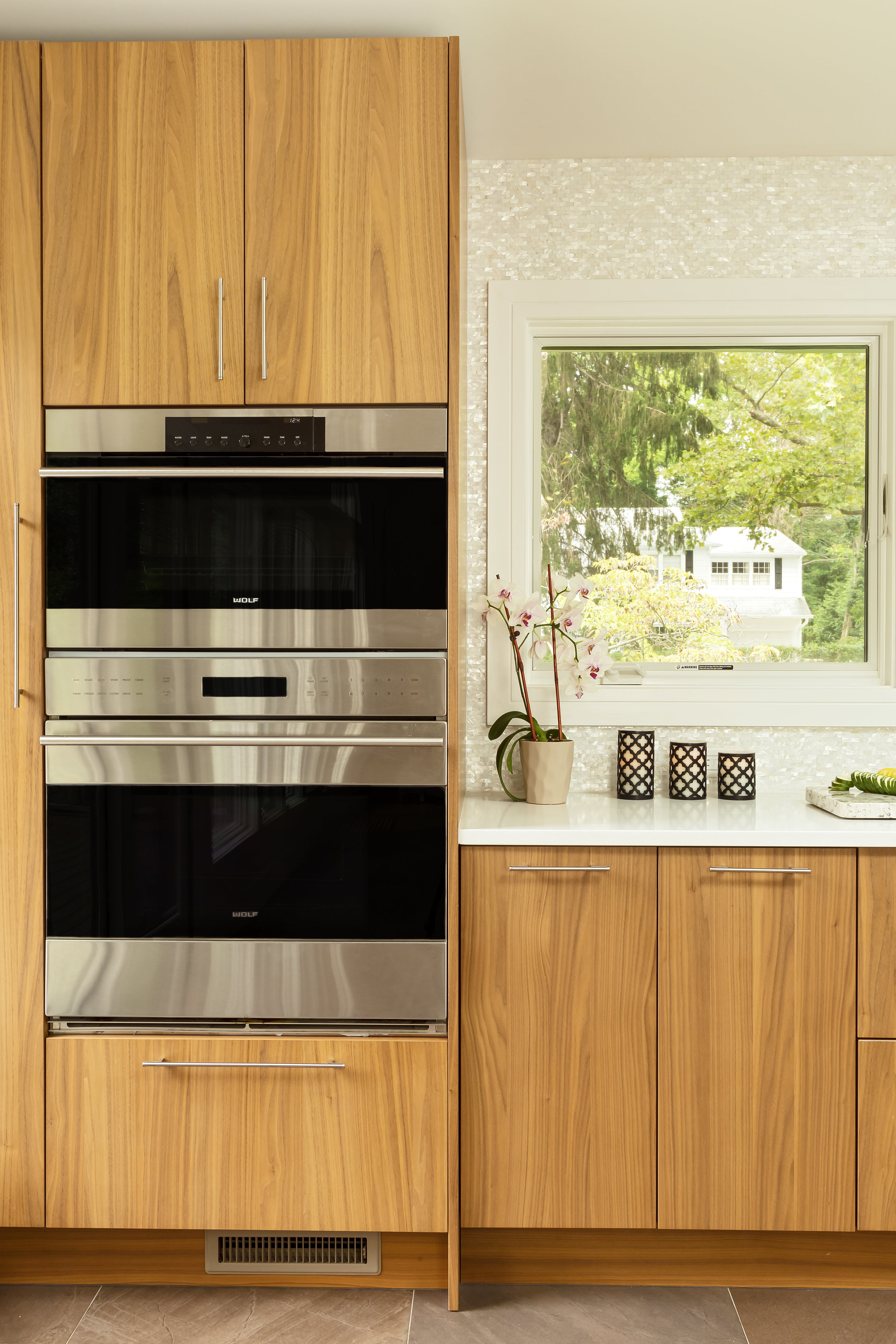 Contemporary style kitchen with speed cooking oven