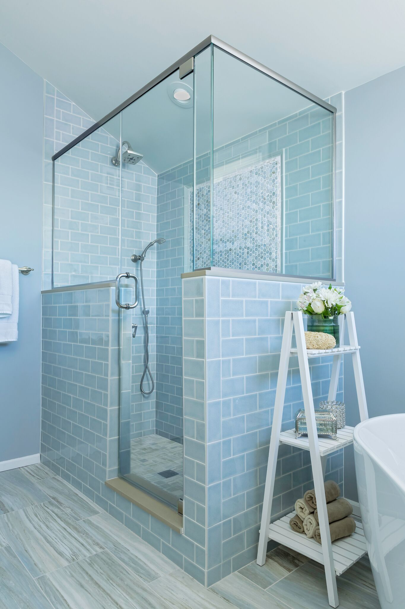 blue stand up shower