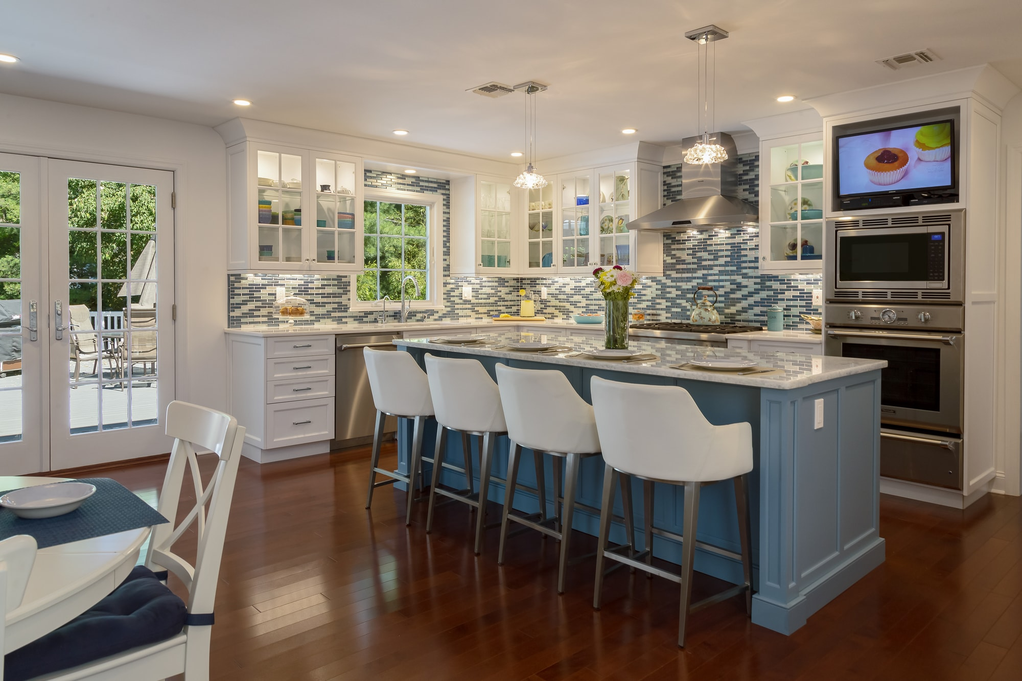 blue tile and cabinets