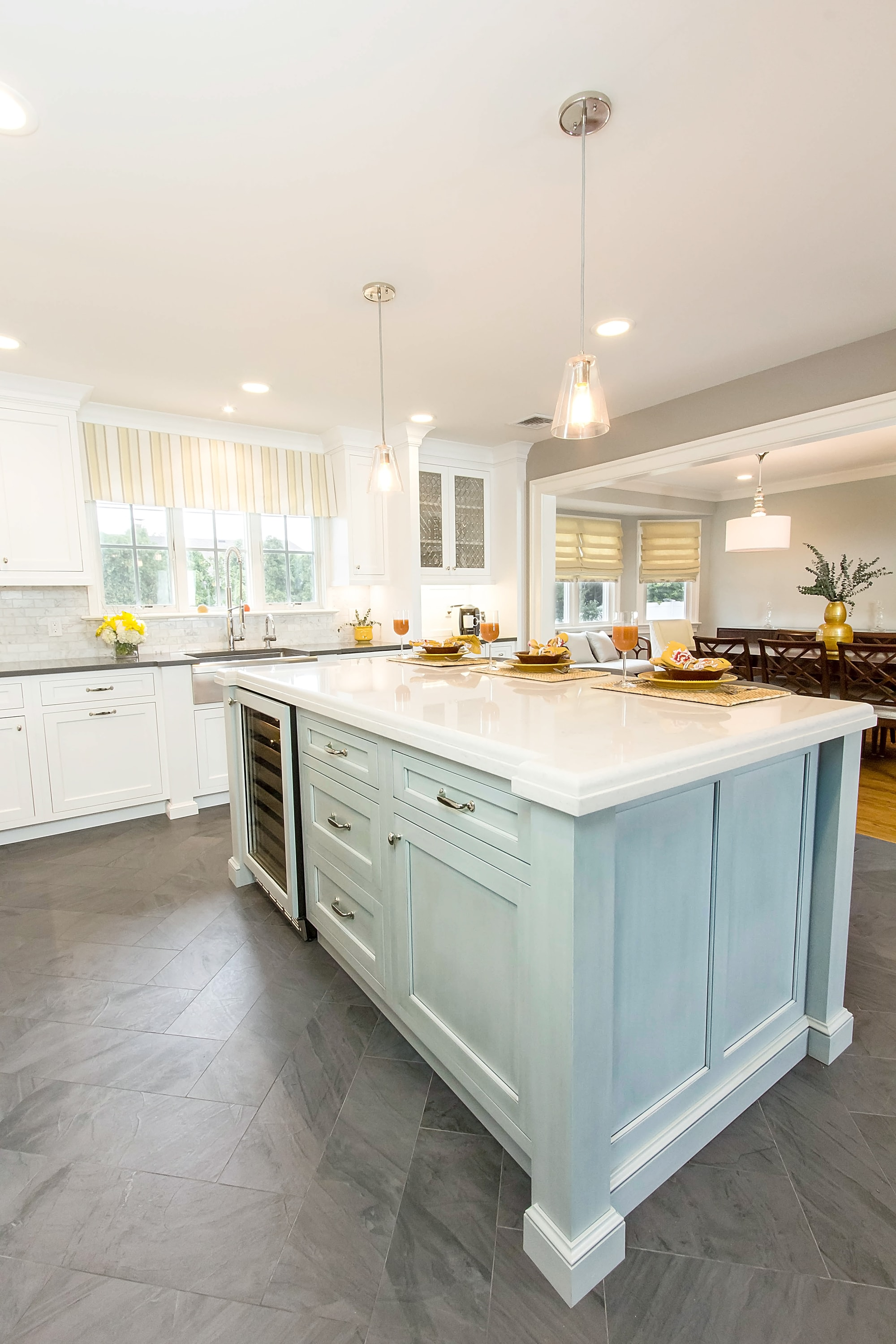 Traditional style kitchen with custom built drawer on kitchen center island