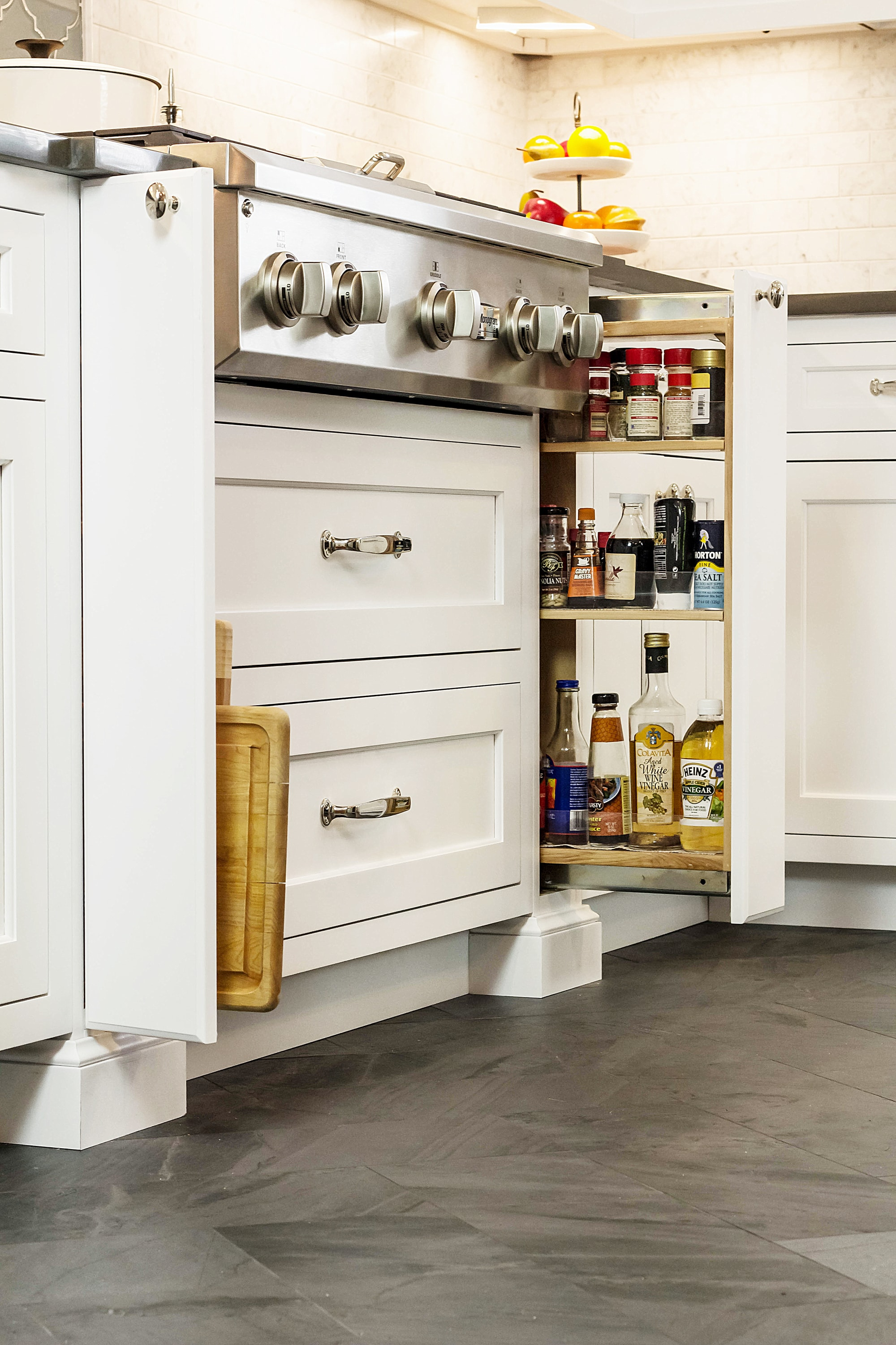 Traditional style kitchen with space saving storage