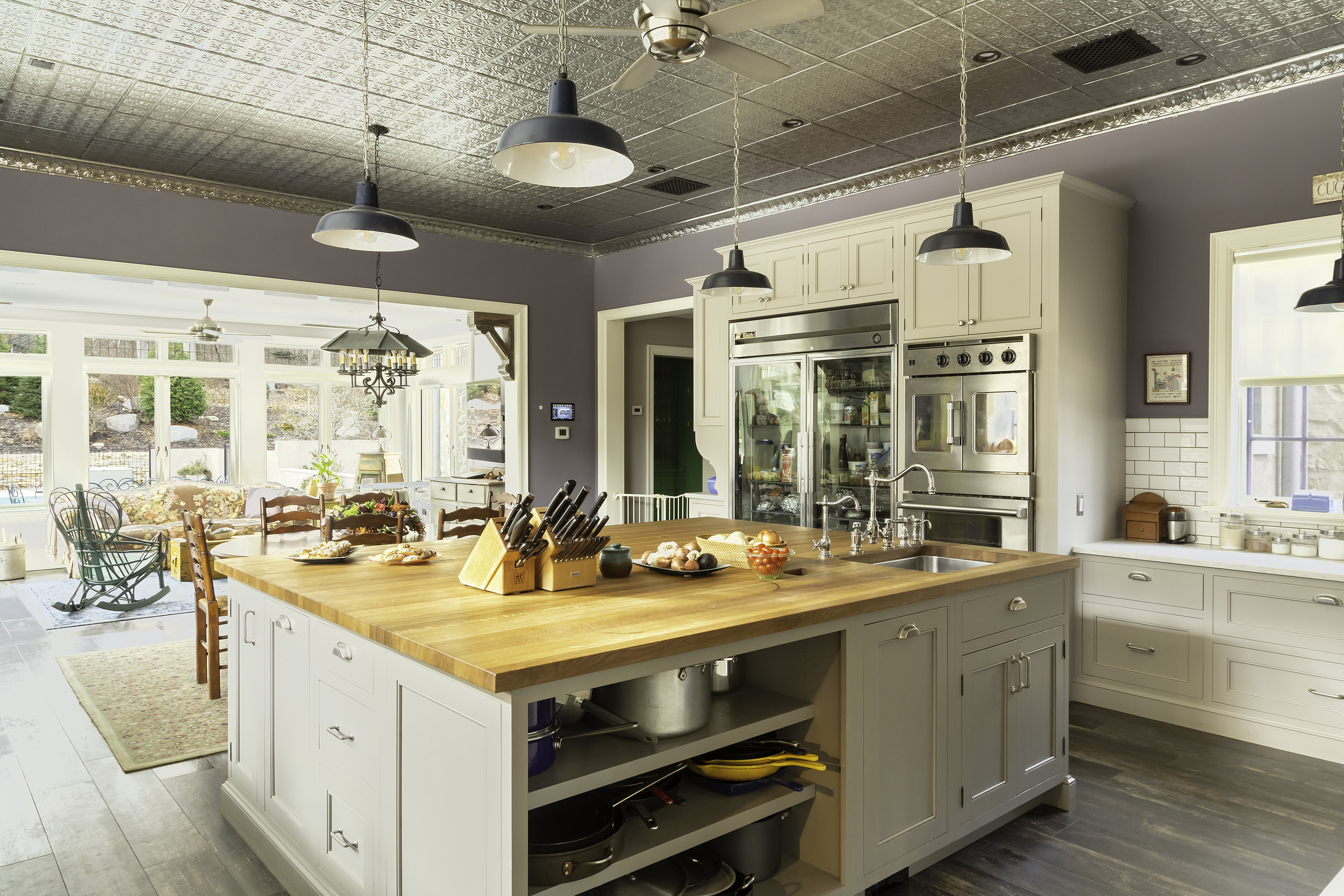 Modern country kitchen with open shelves