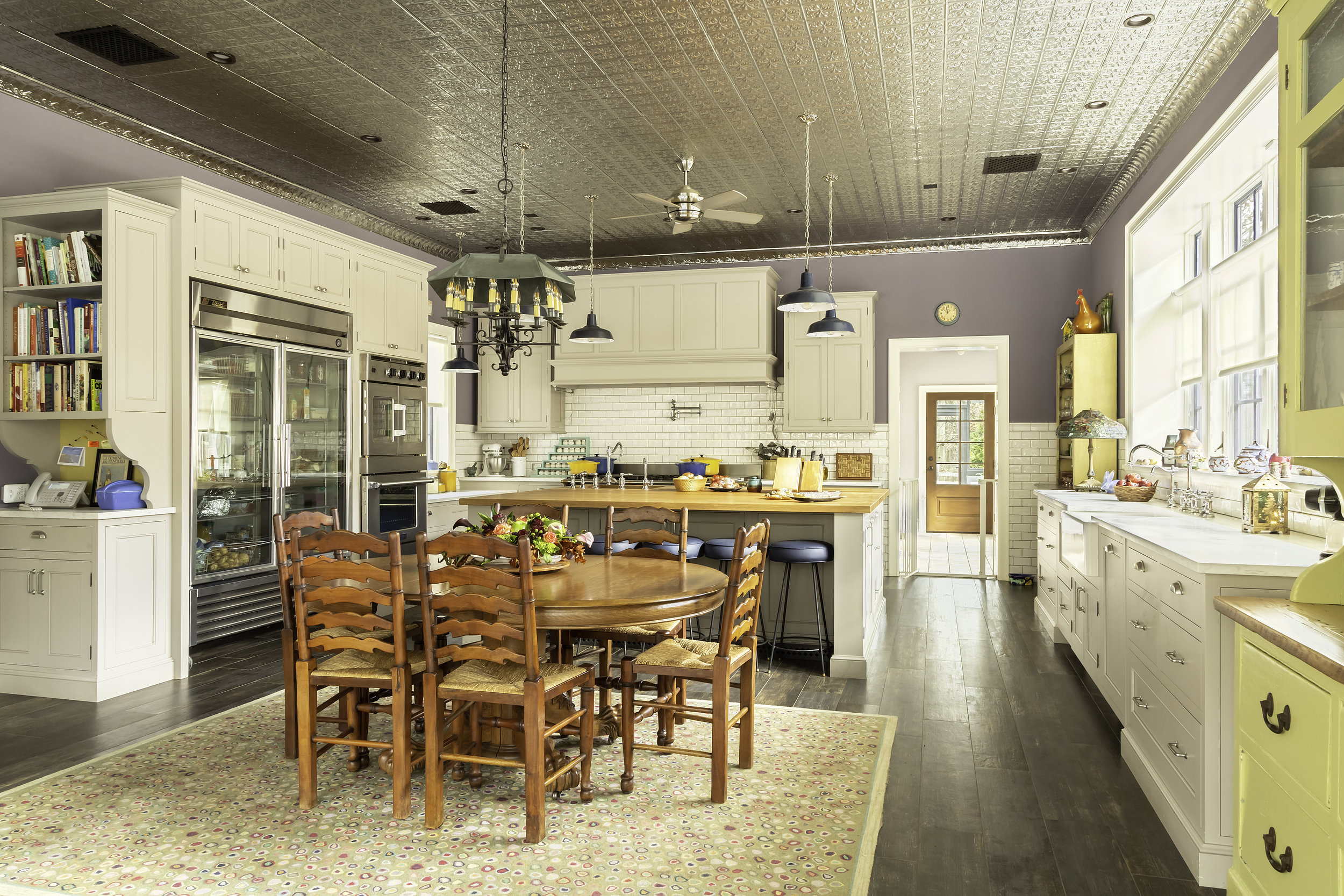 modern country kitchen with wide plank floors