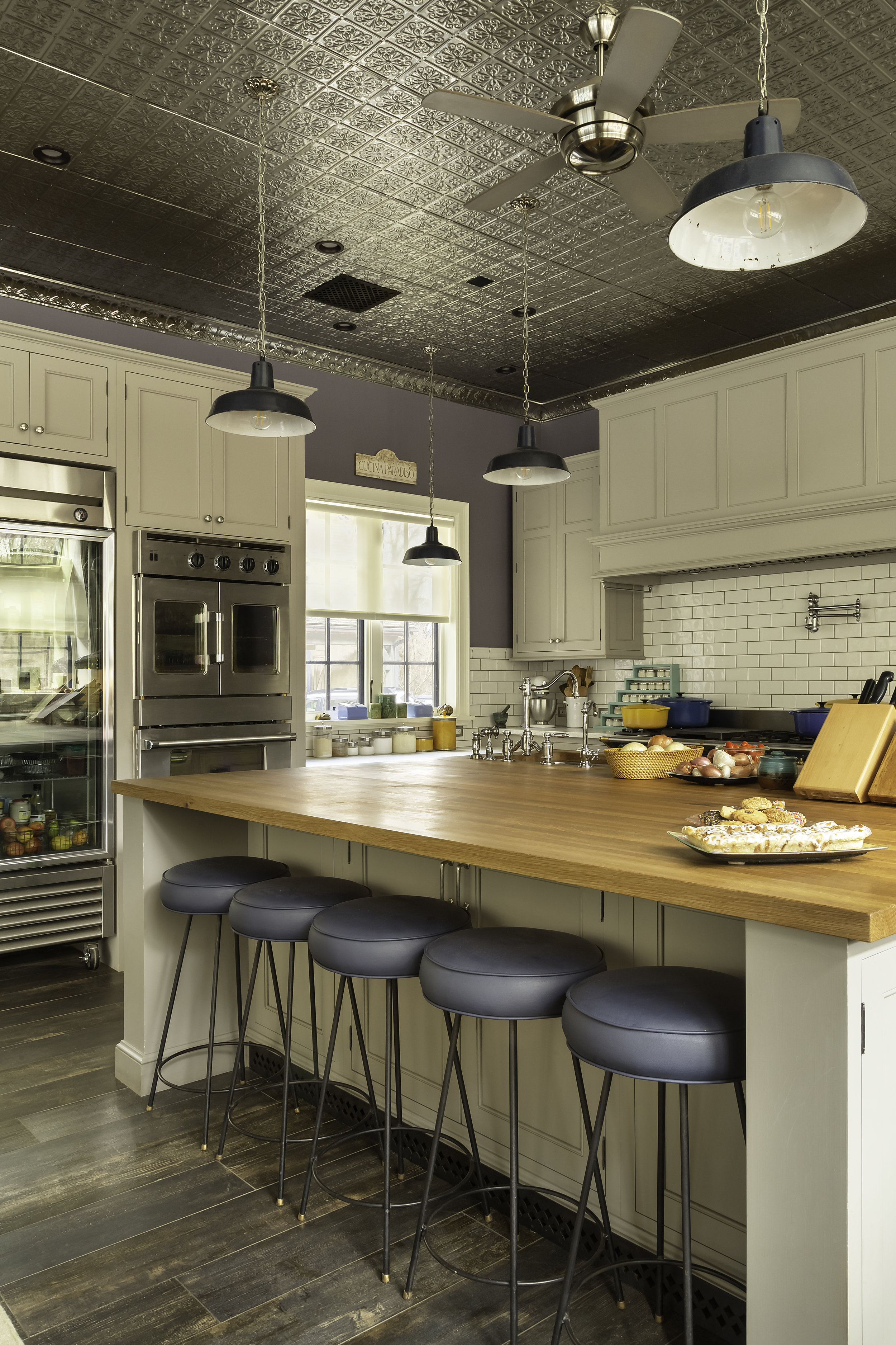 modern country kitchen with tin ceiling