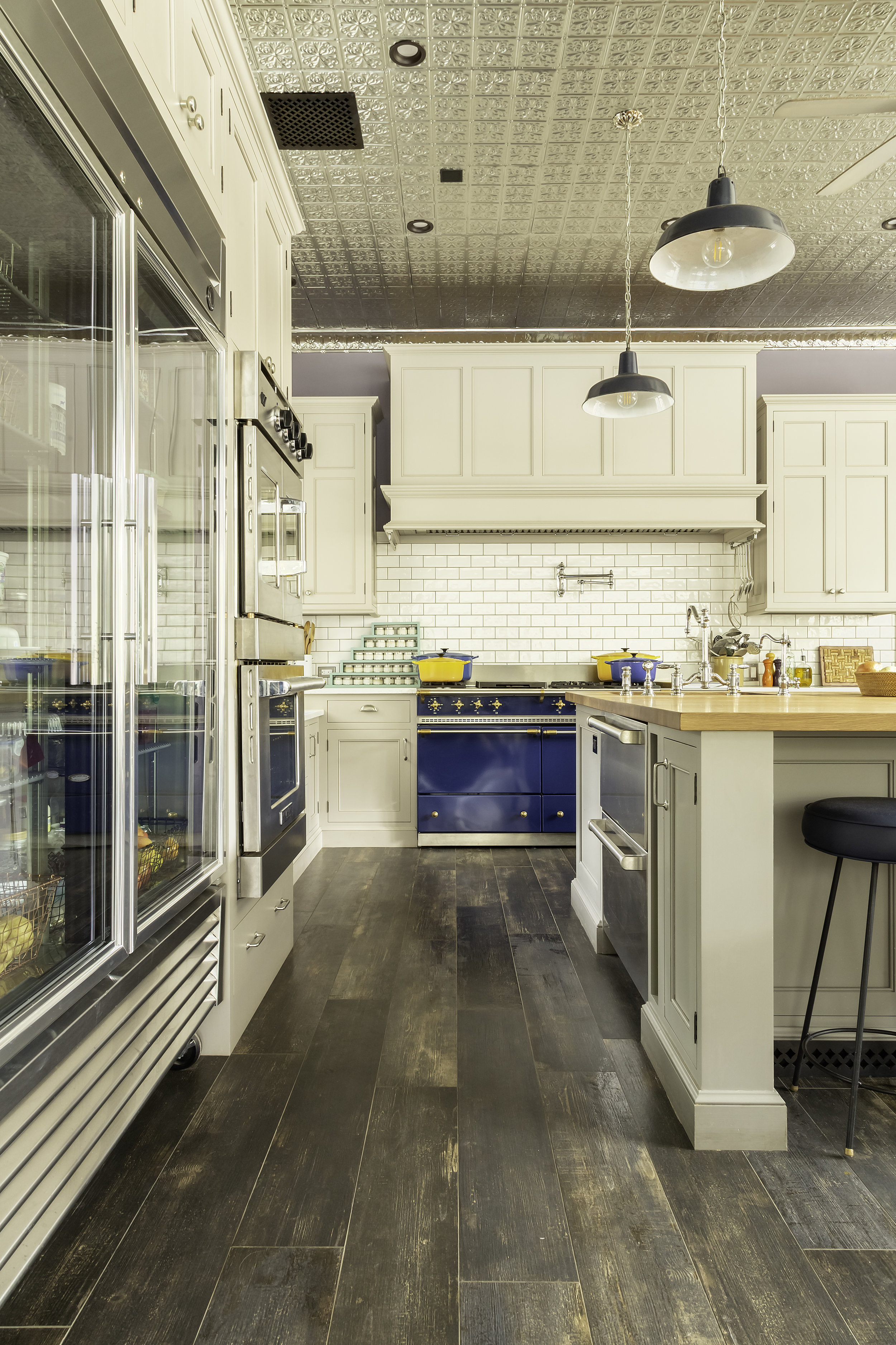 modern country kitchen with French range