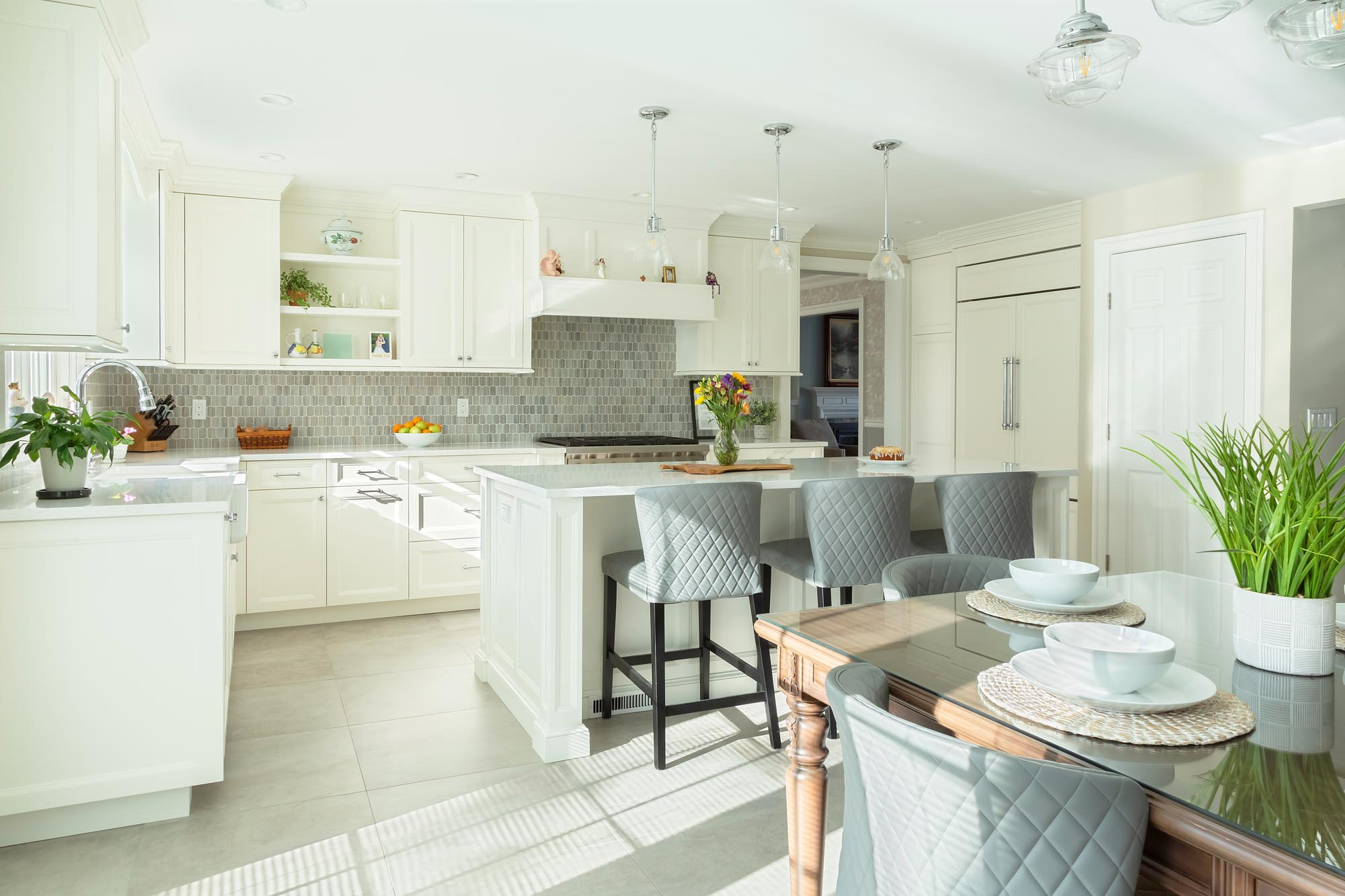 Transitional white kitchen with open shelves