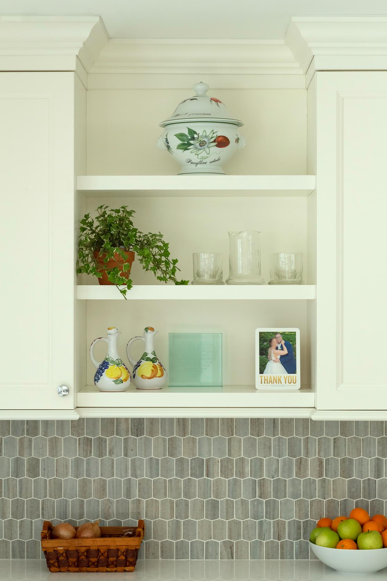Custom cabinet open shelves